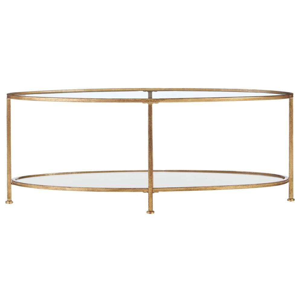 Home Decorators Collection Bella Aged Gold Oval Glass Coffee Table throughout Rectangular Brass Finish And Glass Coffee Tables (Image 10 of 30)