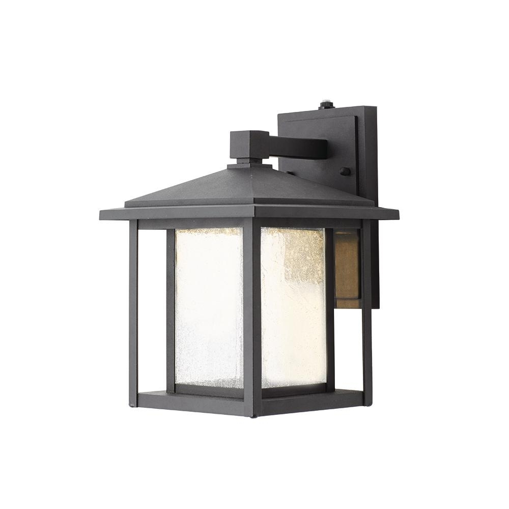 Home Decorators Collection Black Medium Outdoor Seeded Glass Dusk To with regard to Outdoor Glass Lanterns (Image 10 of 20)