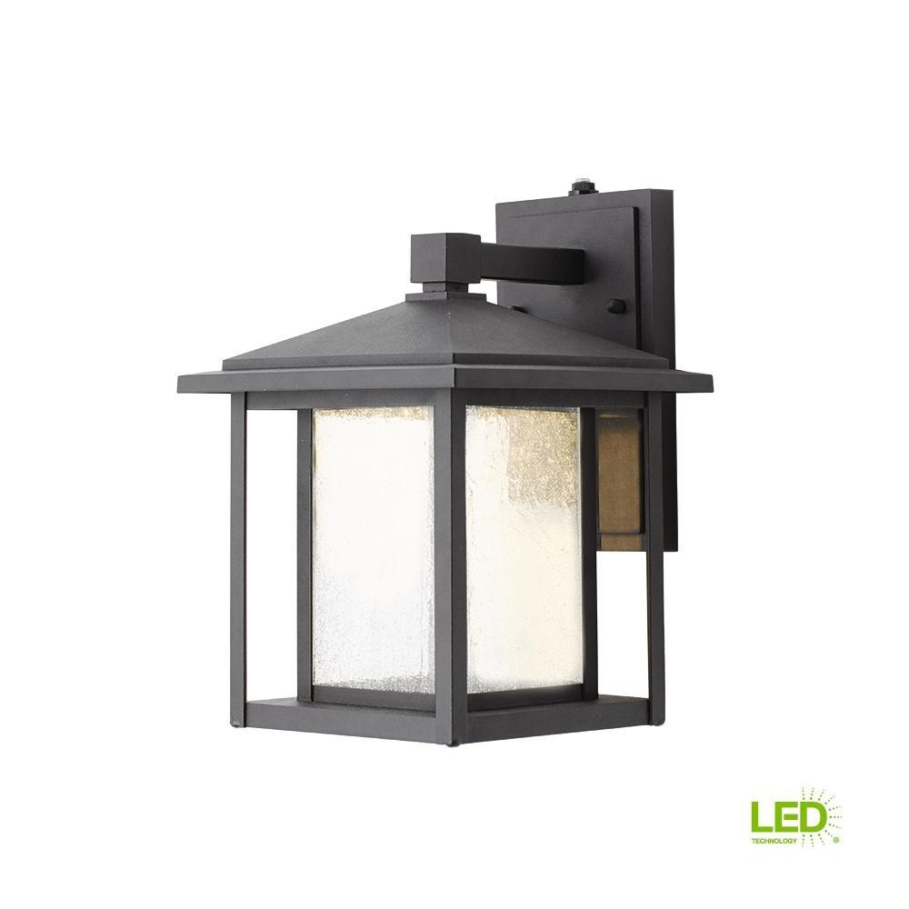Home Decorators Collection Black Outdoor Seeded Glass Dusk To Dawn pertaining to Outdoor Lanterns (Image 10 of 20)