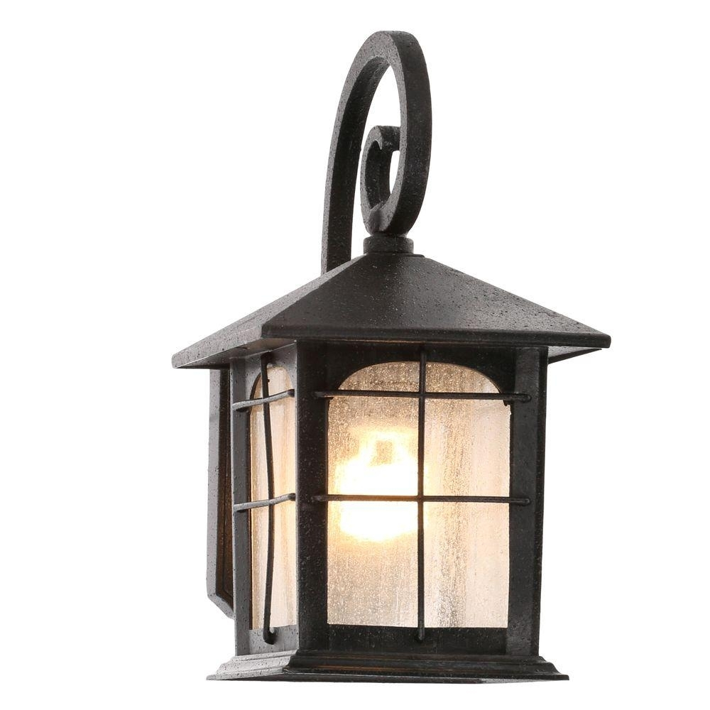 Home Decorators Collection Brimfield 1-Light Aged Iron Outdoor Wall within Outdoor Glass Lanterns (Image 11 of 20)