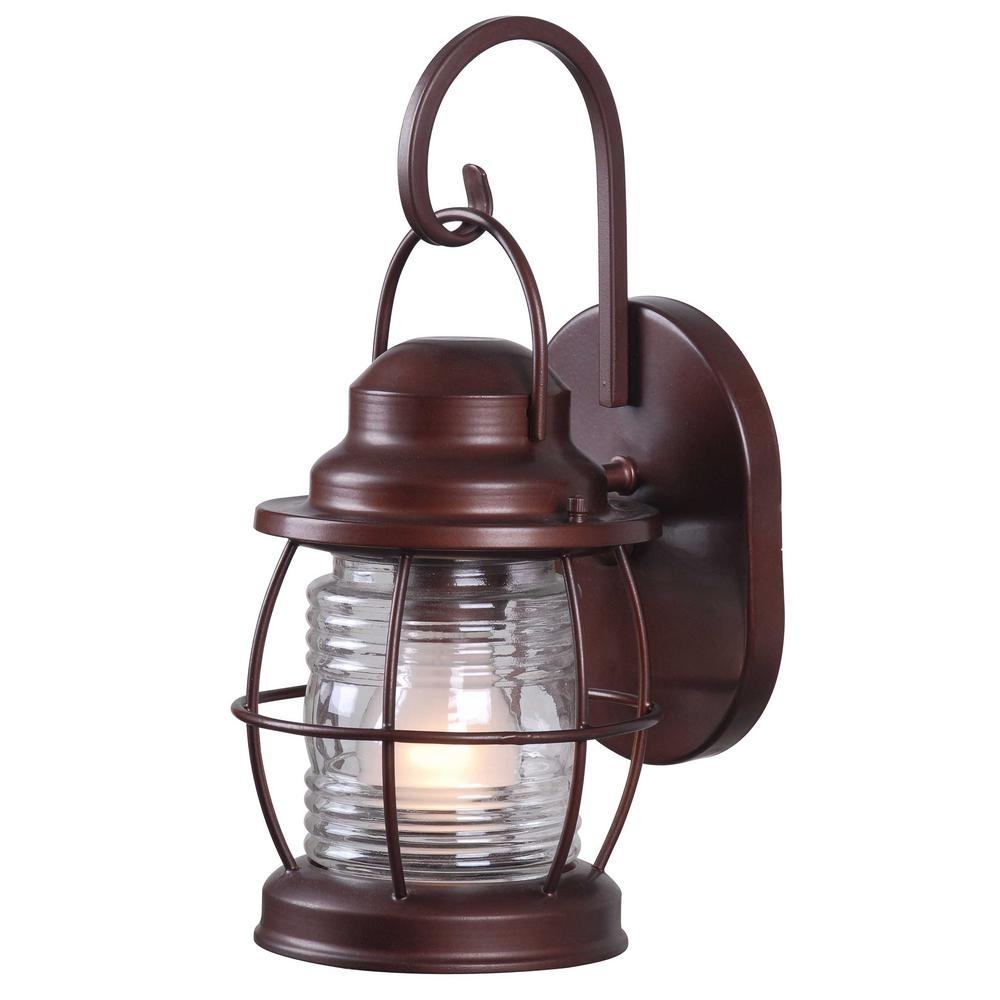 Home Decorators Collection Harbor 1 Light Copper Outdoor Small Wall In Outdoor Electric Lanterns (View 9 of 20)
