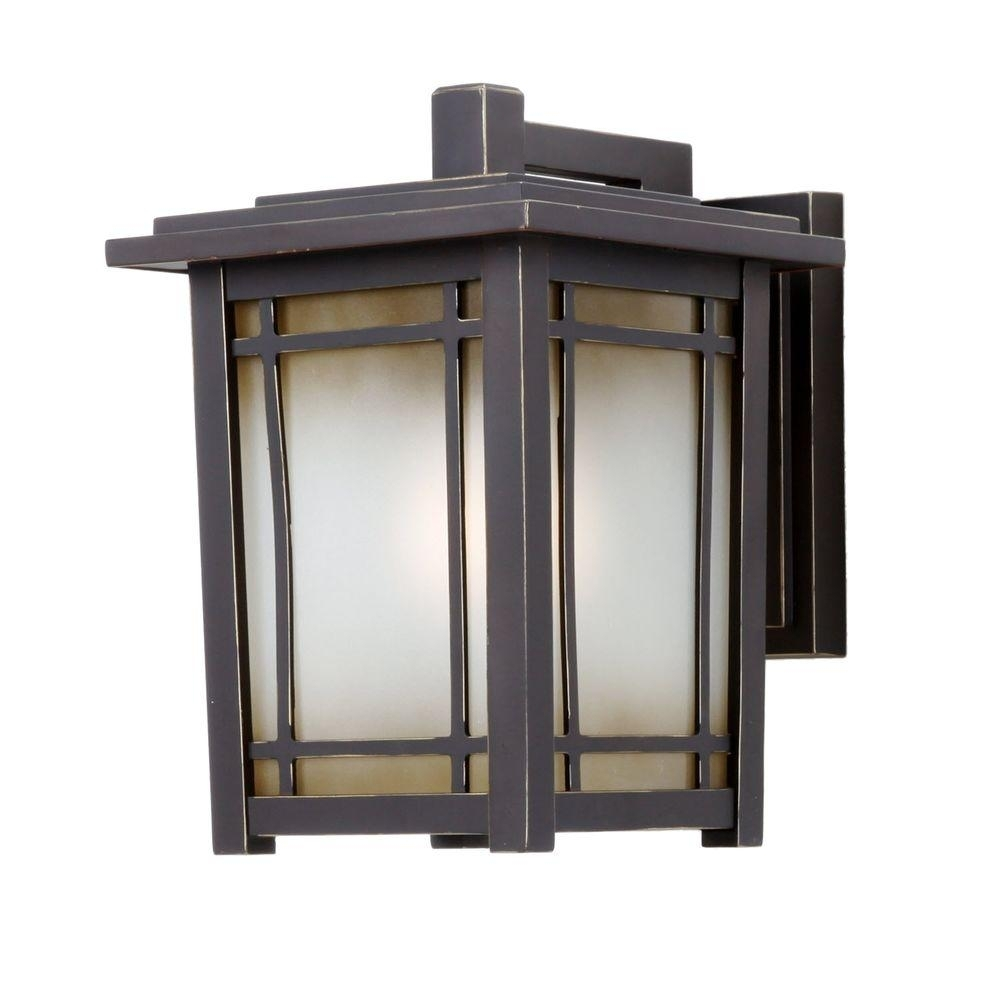 Home Decorators Collection Port Oxford 1-Light Oil Rubbed Chestnut within Outdoor Lanterns for Garage (Image 15 of 20)