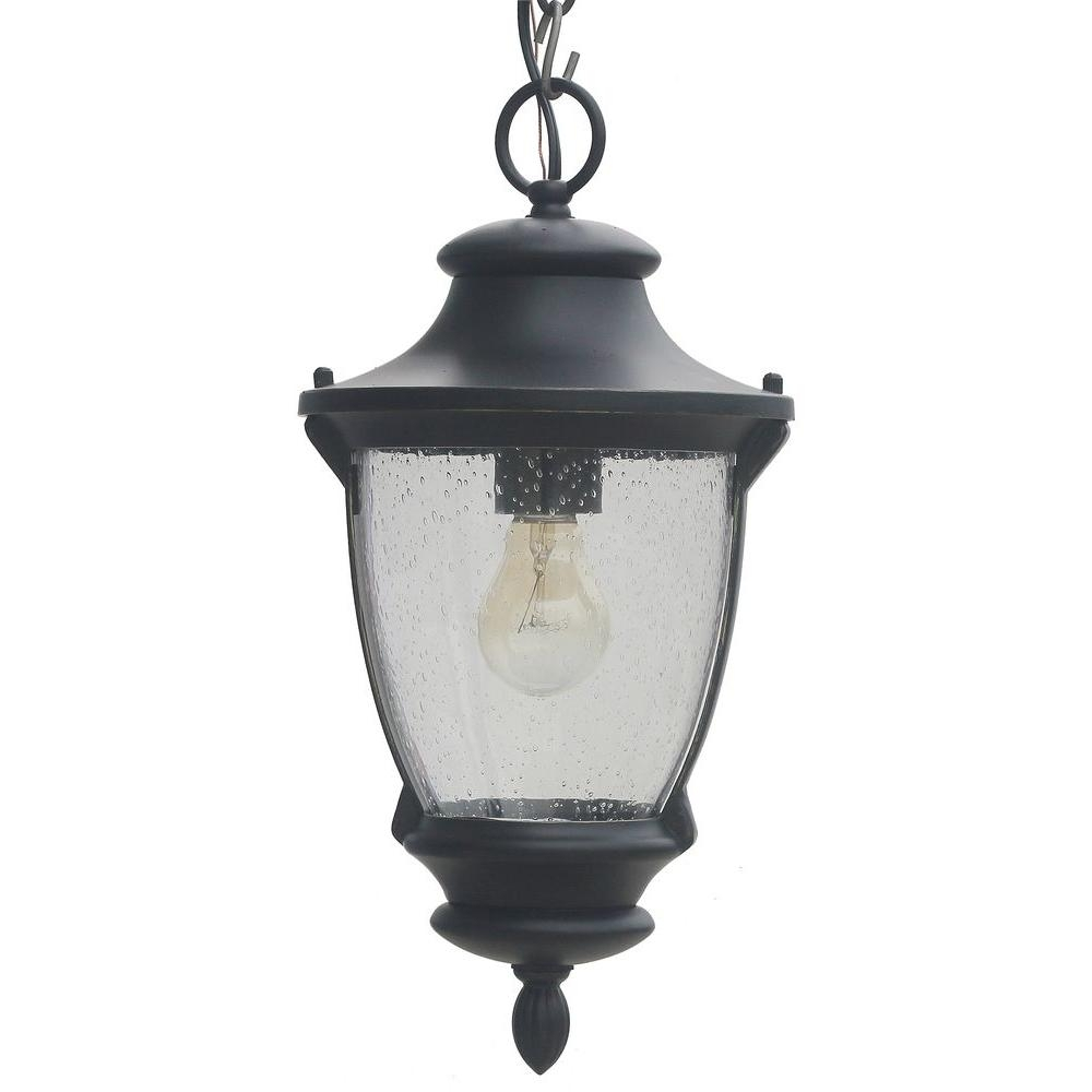 Home Decorators Collection Wilkerson 1 Light Black Outdoor Chain Intended For Outdoor Storm Lanterns (View 15 of 20)