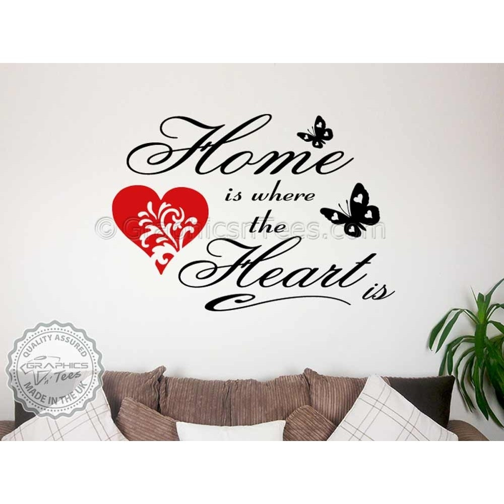 Home Is Where The Heart Family Wall Art Sticker Quote Vinyl Decor Within Family Wall Art (View 8 of 20)