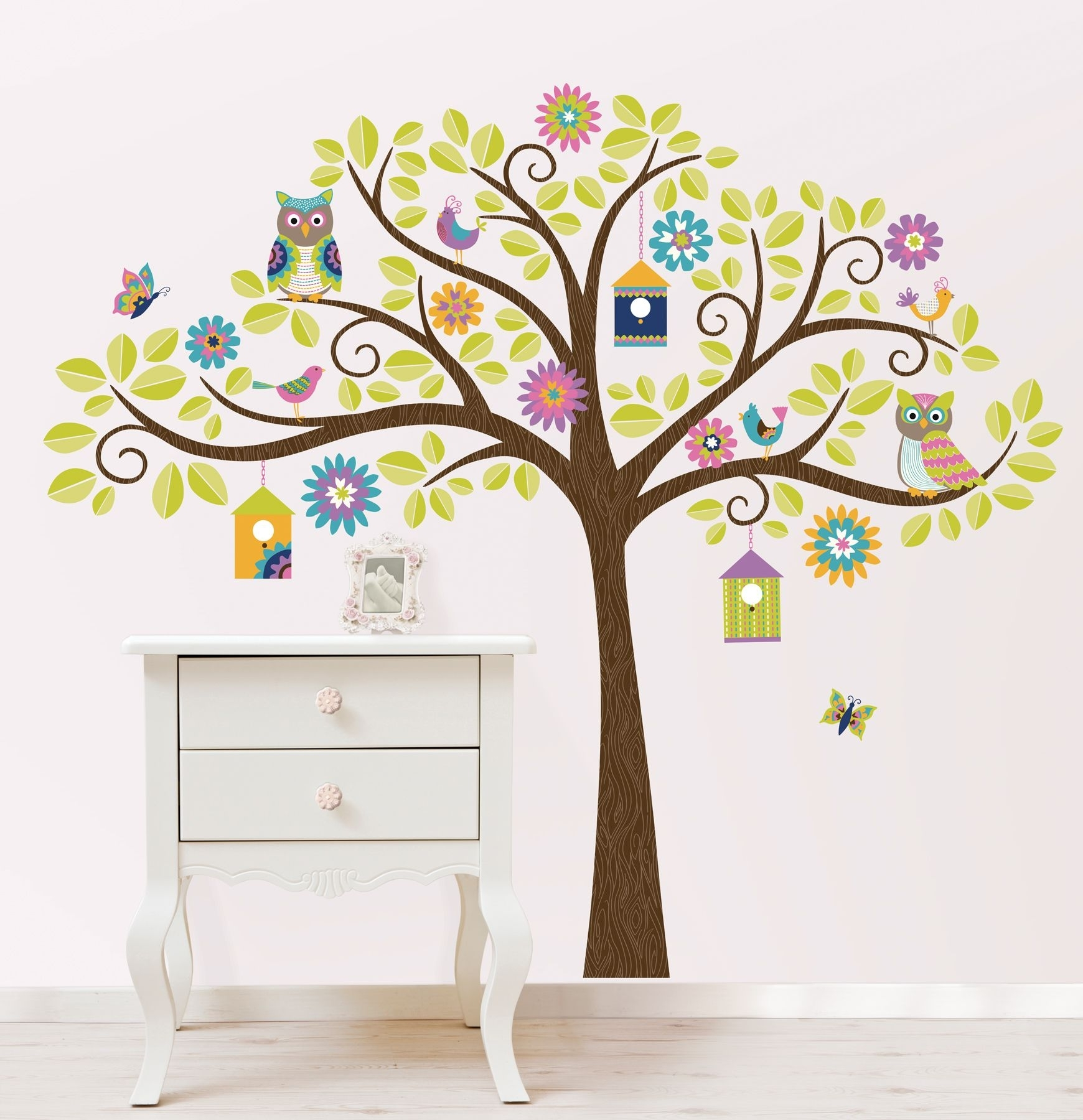 Hoot And Hang Out Tree Wall Art Sticker Kit within Tree Wall Art (Image 6 of 20)
