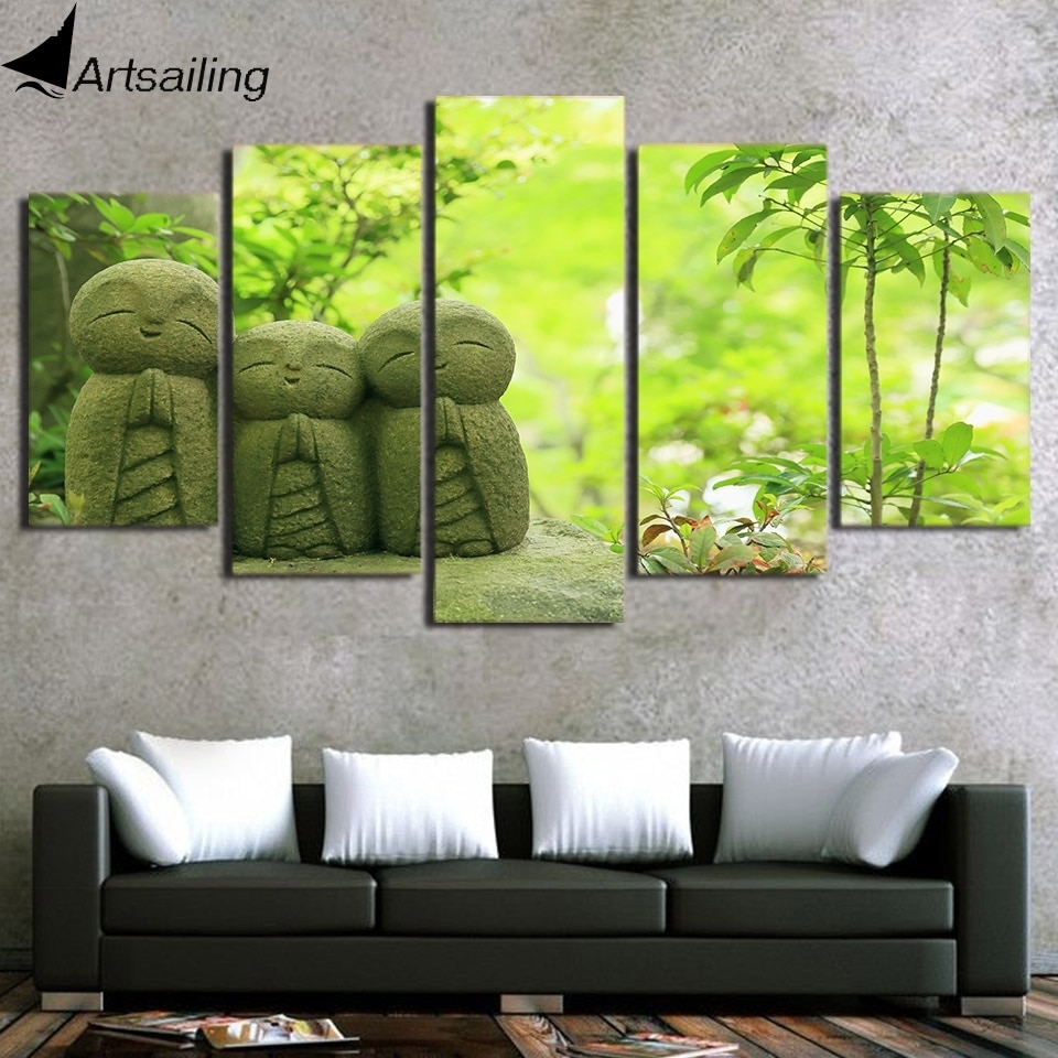 Hot Sale Hd Printed 5 Piece Canvas Art Japanese Monk Stone Carving for Japanese Wall Art (Image 6 of 20)