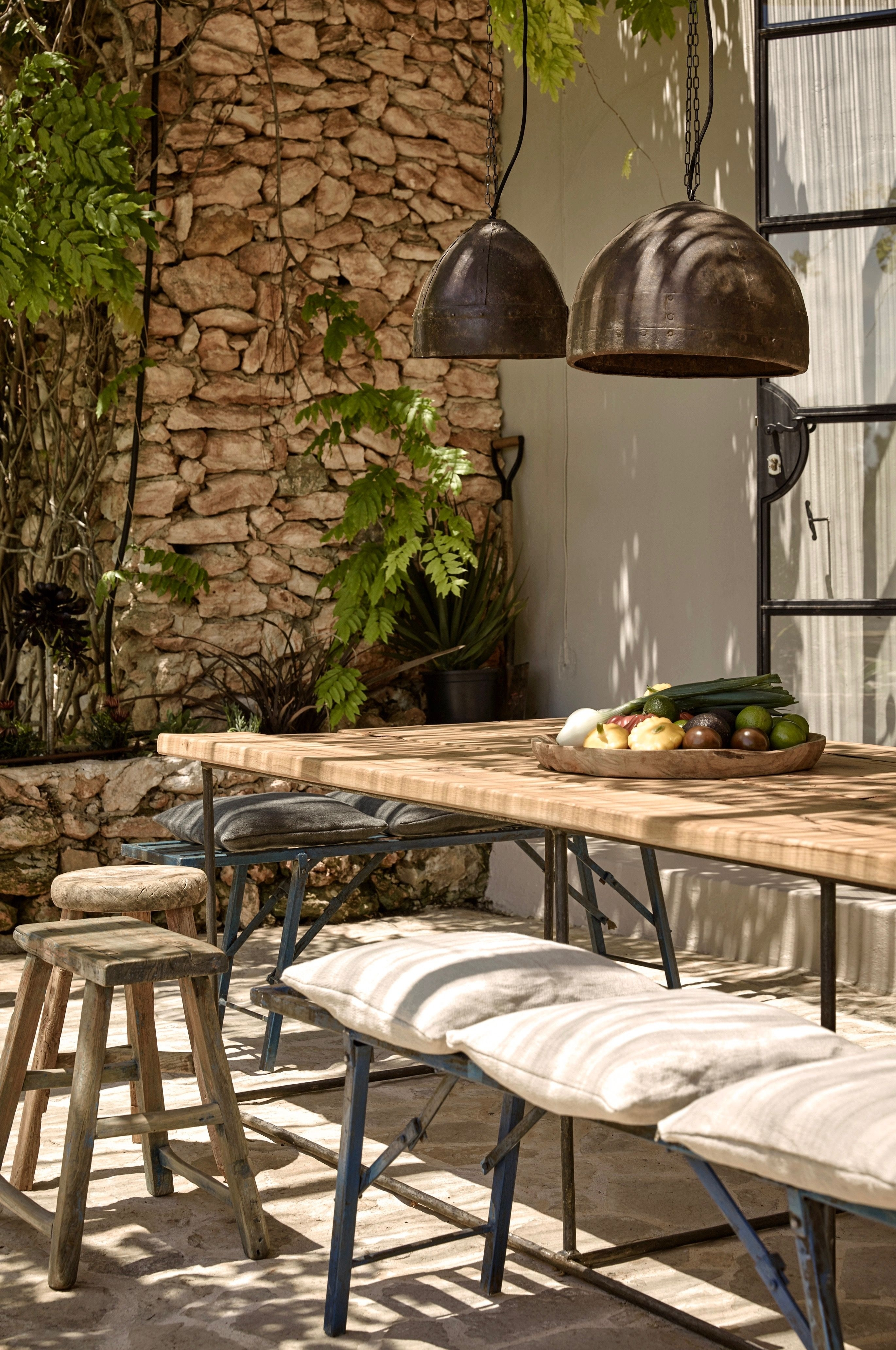 Hotel-La-Granja-Ibiza-Outdoor-Dining-Lanterns-Stone-Wall-Gardenista inside Outdoor Dining Lanterns (Image 7 of 20)