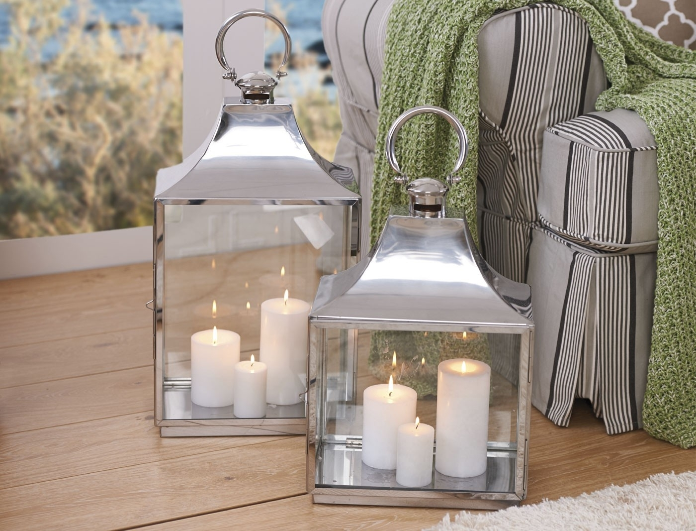 Household Pillar Candles - Ivory regarding Outdoor Lanterns and Votives (Image 11 of 20)