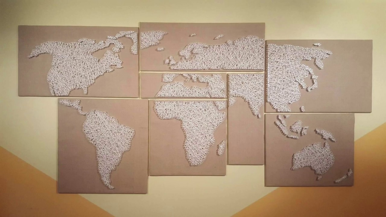 How To Make A String Art World Map – Youtube Inside String Map Wall Art (View 7 of 20)
