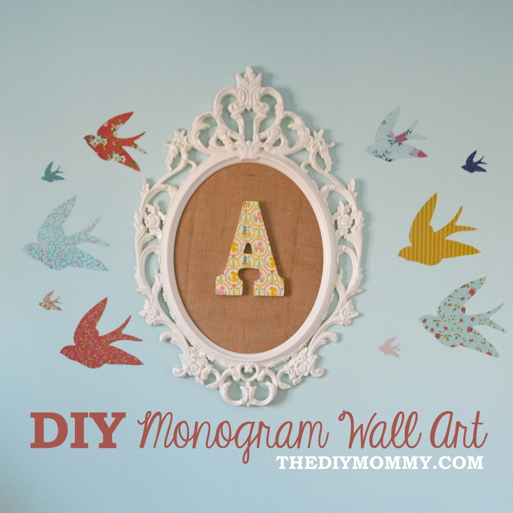 How To Make Diy Monogram Art For A Nursery From An Ikea Frame And with regard to Monogram Wall Art (Image 7 of 20)