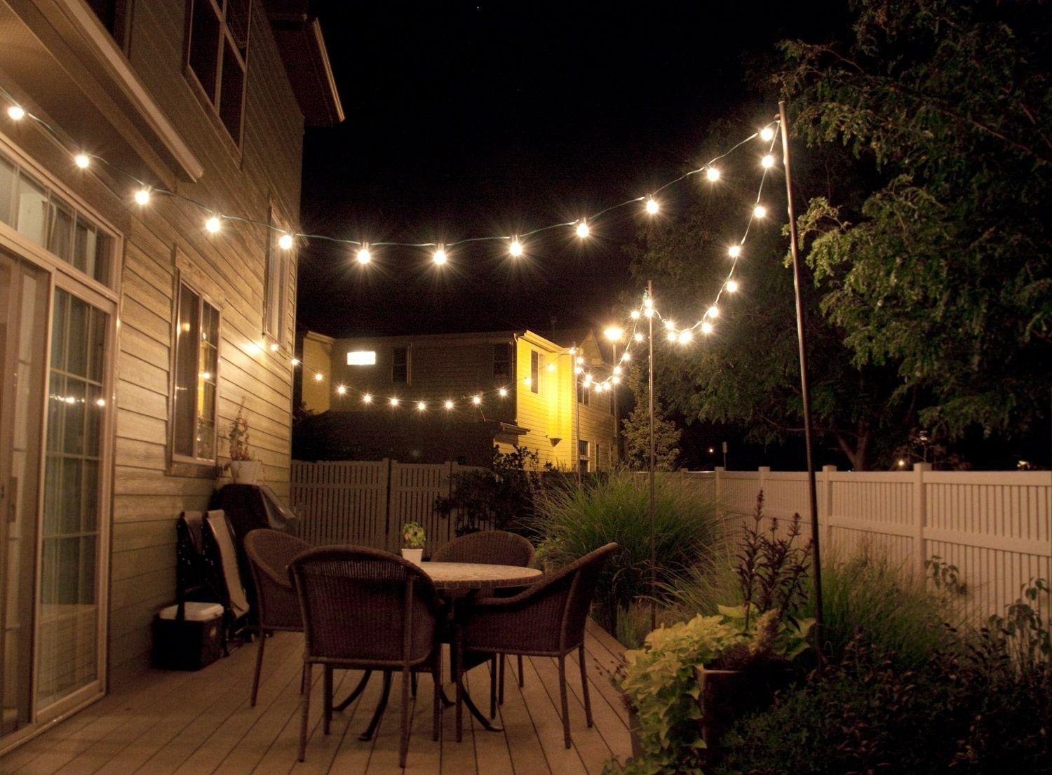 How To Make Inexpensive Poles To Hang String Lights On – Café Style With Outdoor Lanterns For Deck (View 3 of 20)