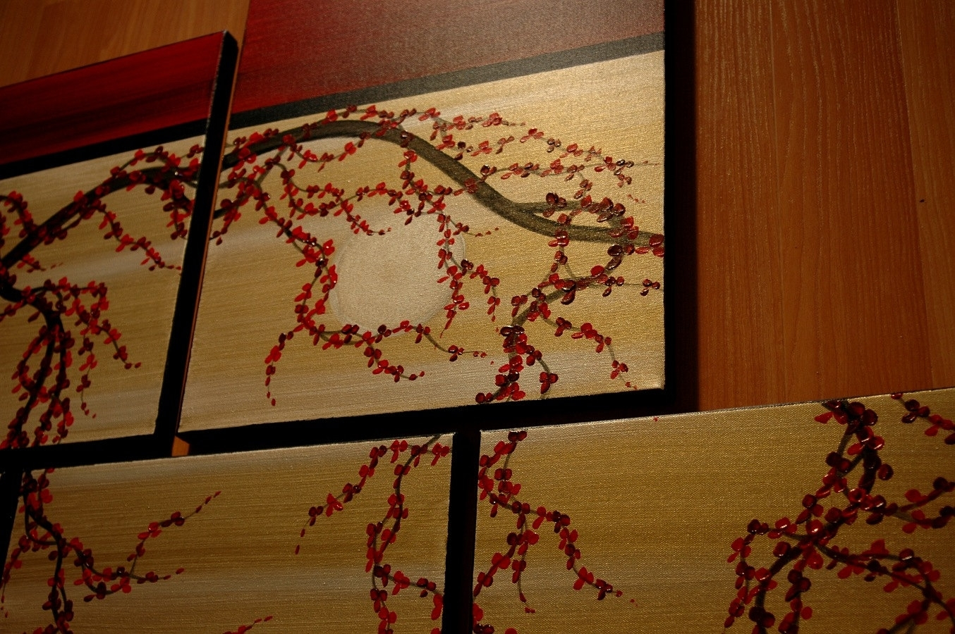 Huge Zen Wall Art Red And Gold Large Painting Contemporary Abstract with Asian Wall Art (Image 15 of 20)