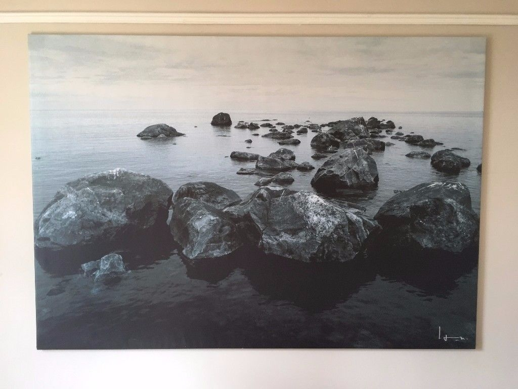 Ikea Tranquil Canvas Large Outdoor Seascape Rocks Wall Art Picture in Ikea Canvas Wall Art (Image 7 of 20)
