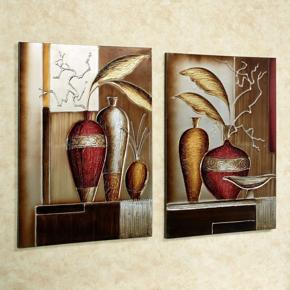 Incredible Foliage In Vases Canvas Wall Art Set Metallic Canvases Inside Canvas Wall Art Sets (View 6 of 20)