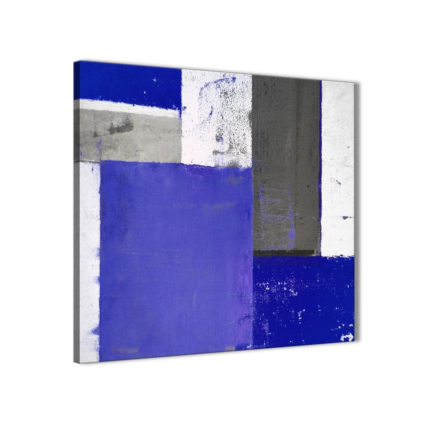 Indigo Navy Blue Abstract Painting Canvas Wall Art Print - Modern regarding Navy Blue Wall Art (Image 6 of 20)