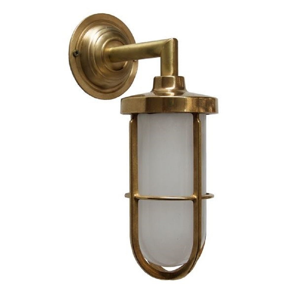 Indoor Or Outdoor Nautical Wall Light In Satin Brass With Frosted Glass throughout Outdoor Nautical Lanterns (Image 5 of 20)