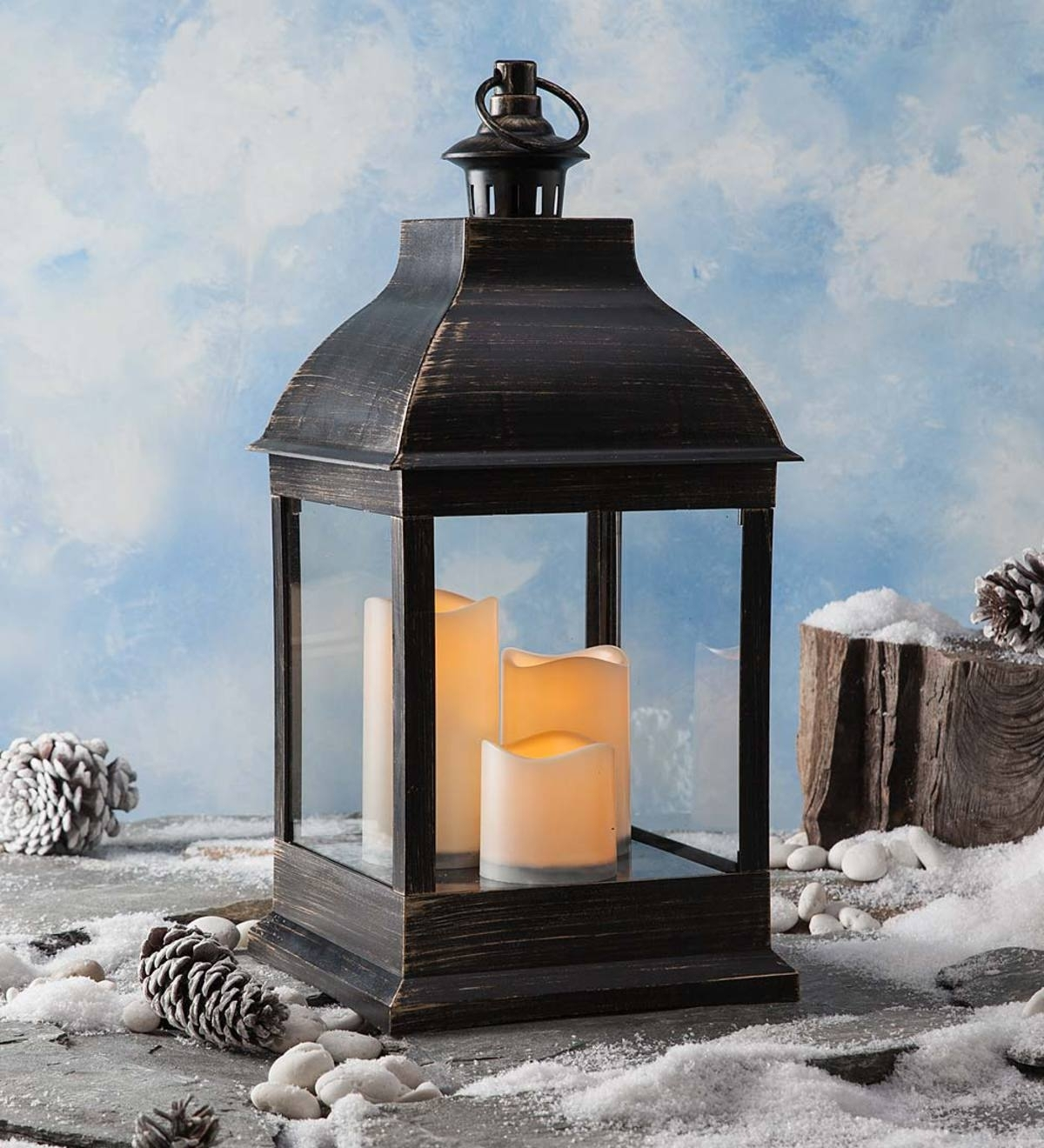 Indoor/outdoor Lantern With Led Candles And Remote | Candles regarding Outdoor Lanterns With Flameless Candles (Image 10 of 20)