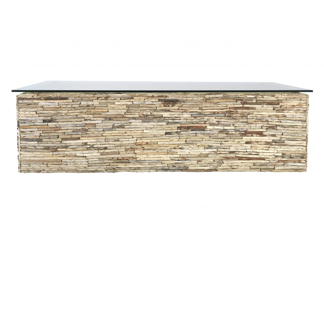 Industrial Glass Driftwood Base Top Coffee Table Square For With Uk pertaining to Mill Large Leather Coffee Tables (Image 19 of 30)