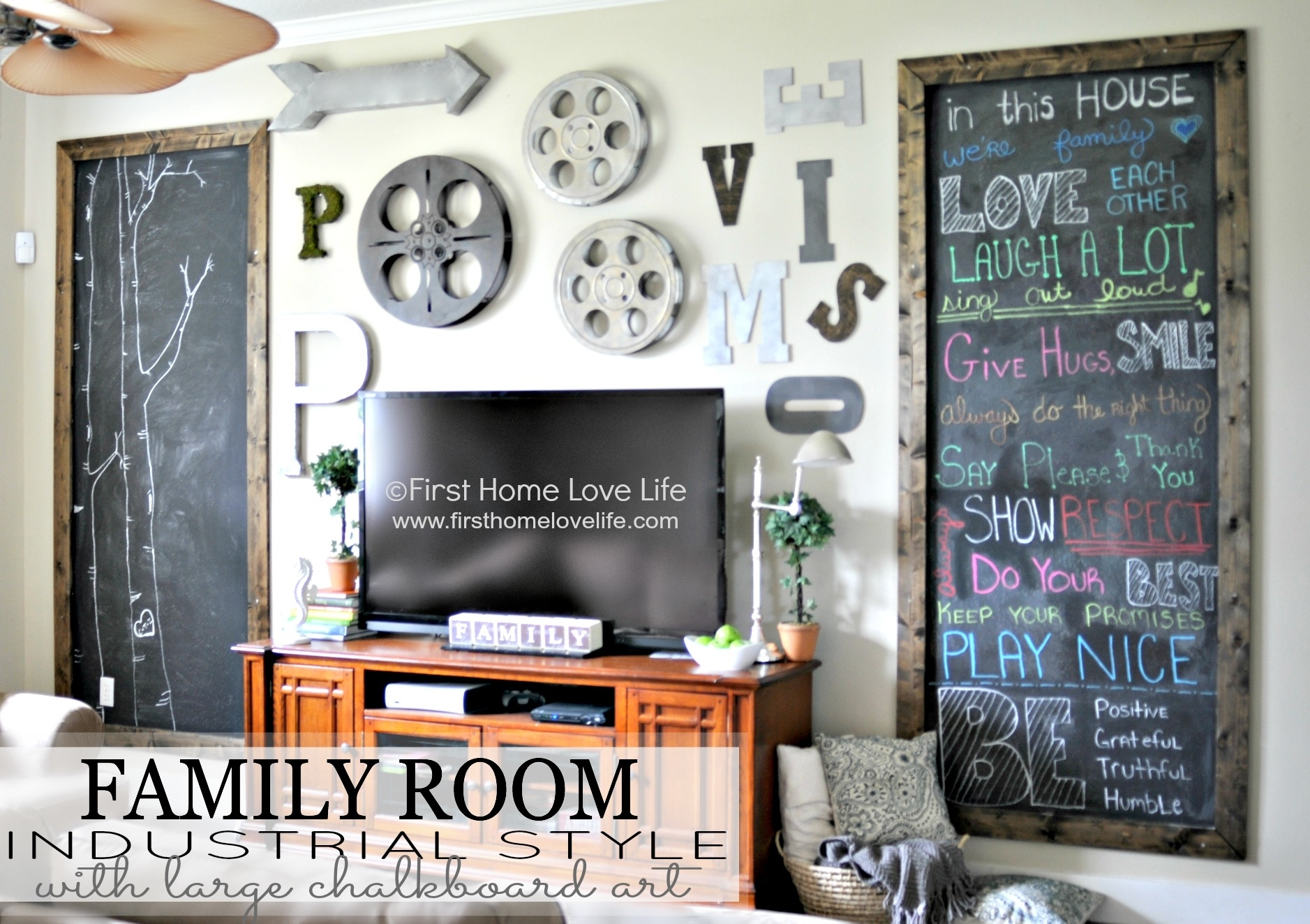 Industrial Style Family Room Gallery Wall With Chalkboard throughout Industrial Wall Art (Image 8 of 20)