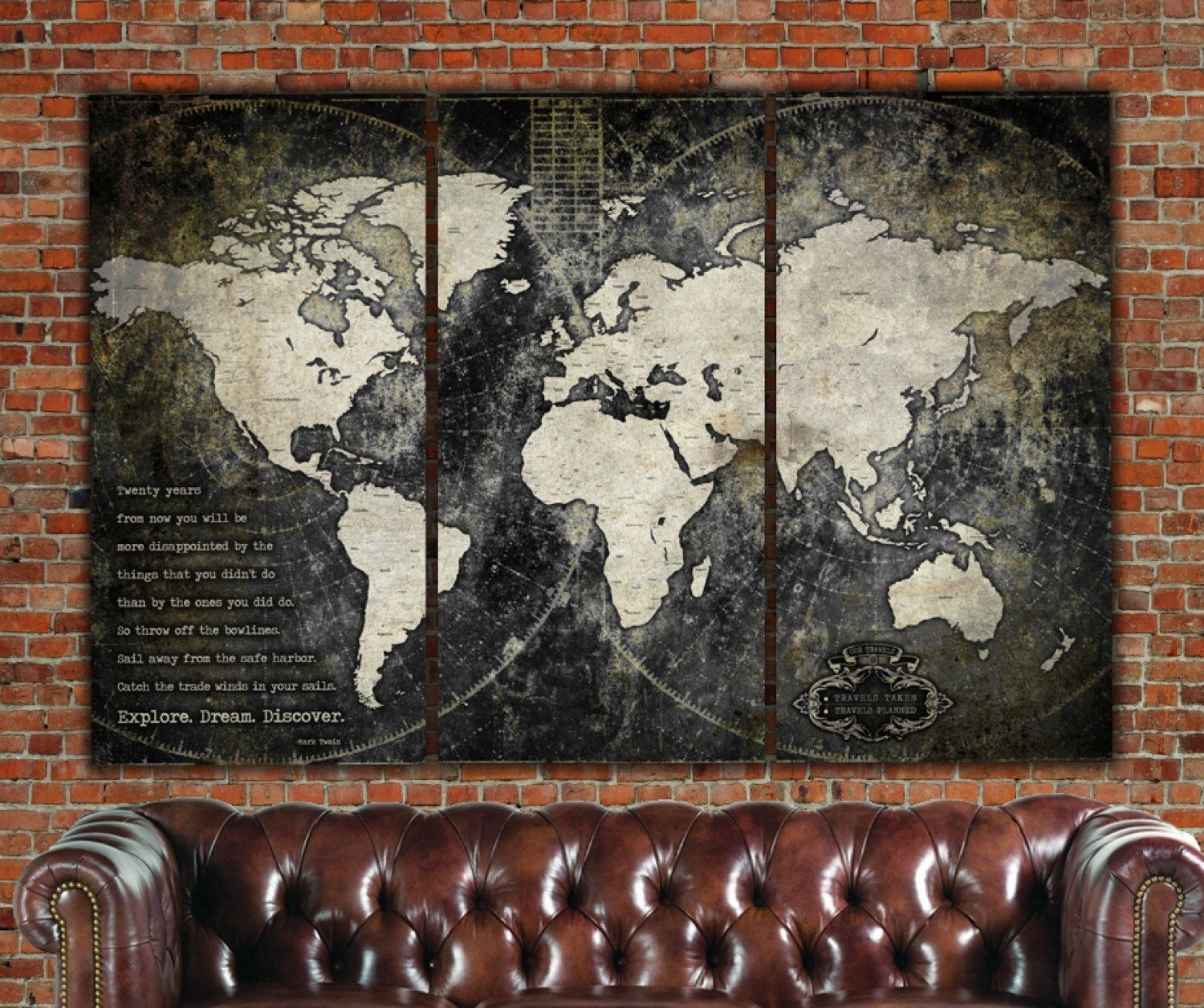 Industrial World Map On Canvas, Vintage Map, Large Wall Art intended for Vintage Map Wall Art (Image 6 of 20)