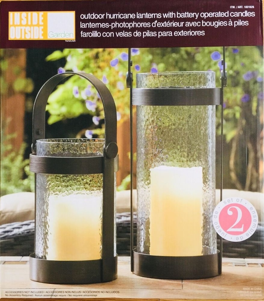 Inside Outside Garden Hurricane Lanterns (2 Pack) With Battery In Outdoor Lanterns With Battery Operated Candles (View 7 of 20)