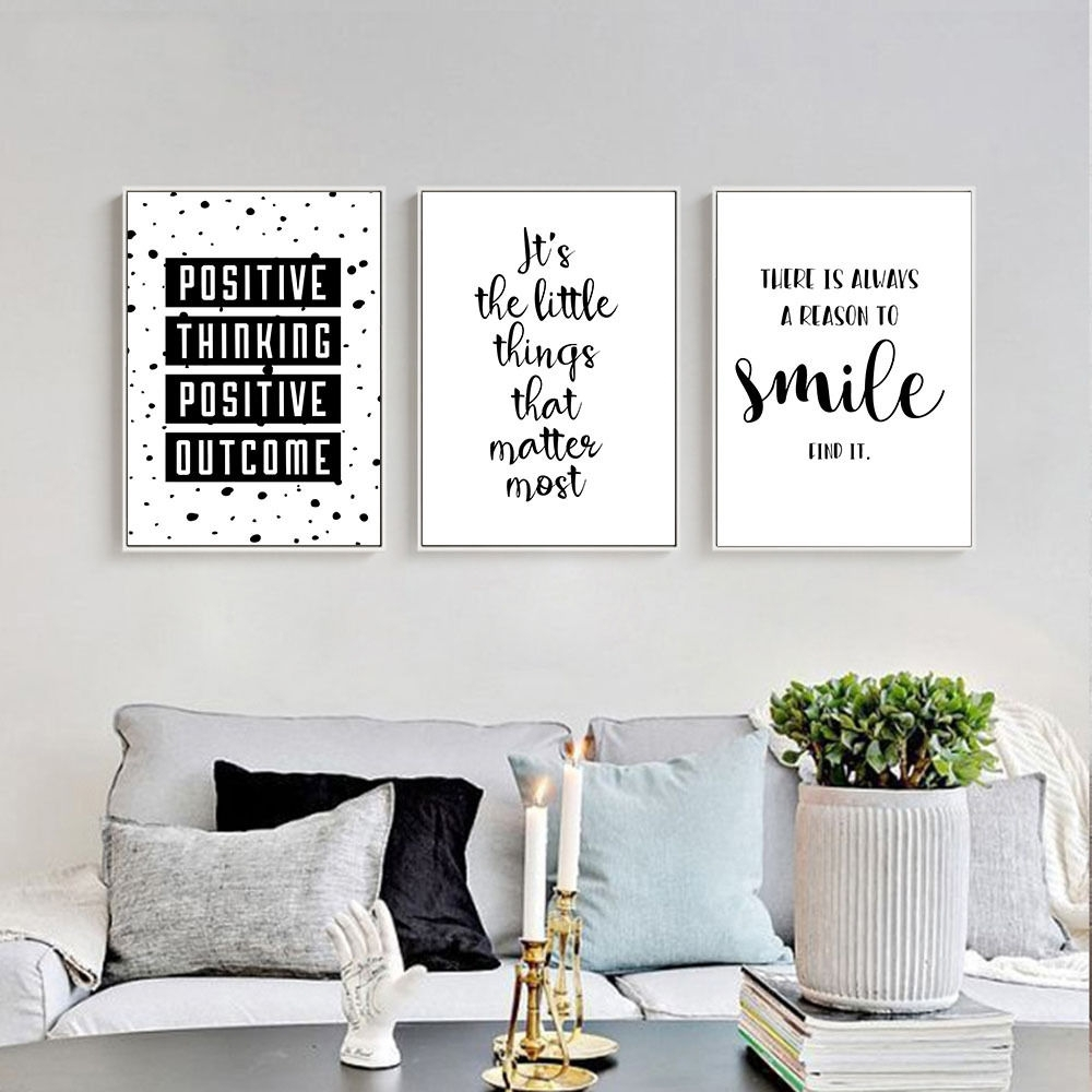 Inspirational Quote Wall Art Canvas Posters Black White, Canvas Wall with regard to Canvas Wall Art Quotes (Image 12 of 20)