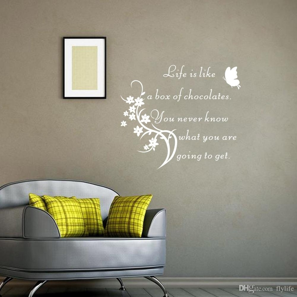 Inspirational Quote Wall Sticker Life Is Like A Box Of Chocolate throughout Inspirational Quotes Wall Art (Image 9 of 20)