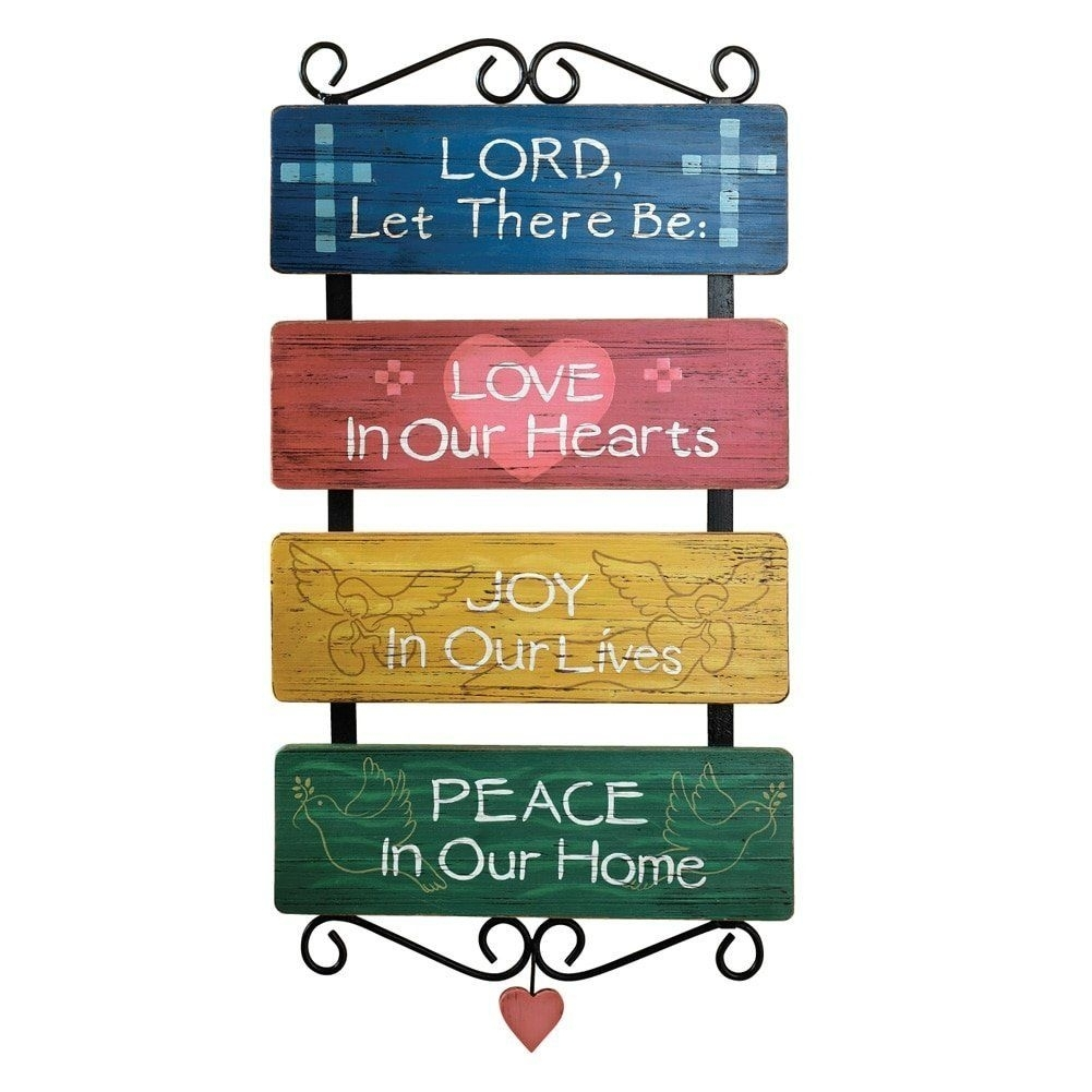 Inspirational Religious Sayings Love Joy Peace Distressed Wall Art For Wall Art Sayings (View 14 of 20)