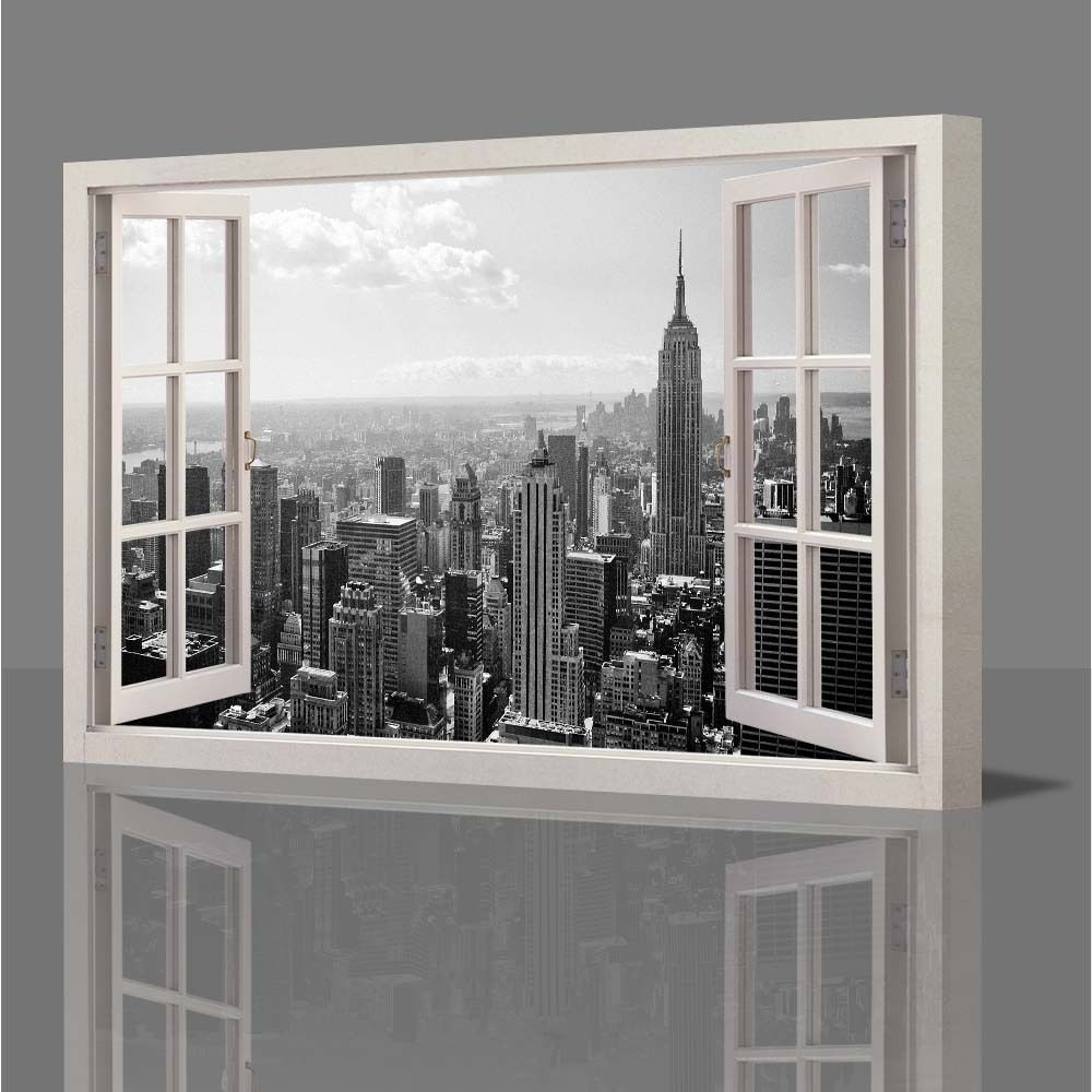 Inspiring Wall Art Decor Wooden Canvas New York Window Distressed throughout New York City Wall Art (Image 13 of 20)