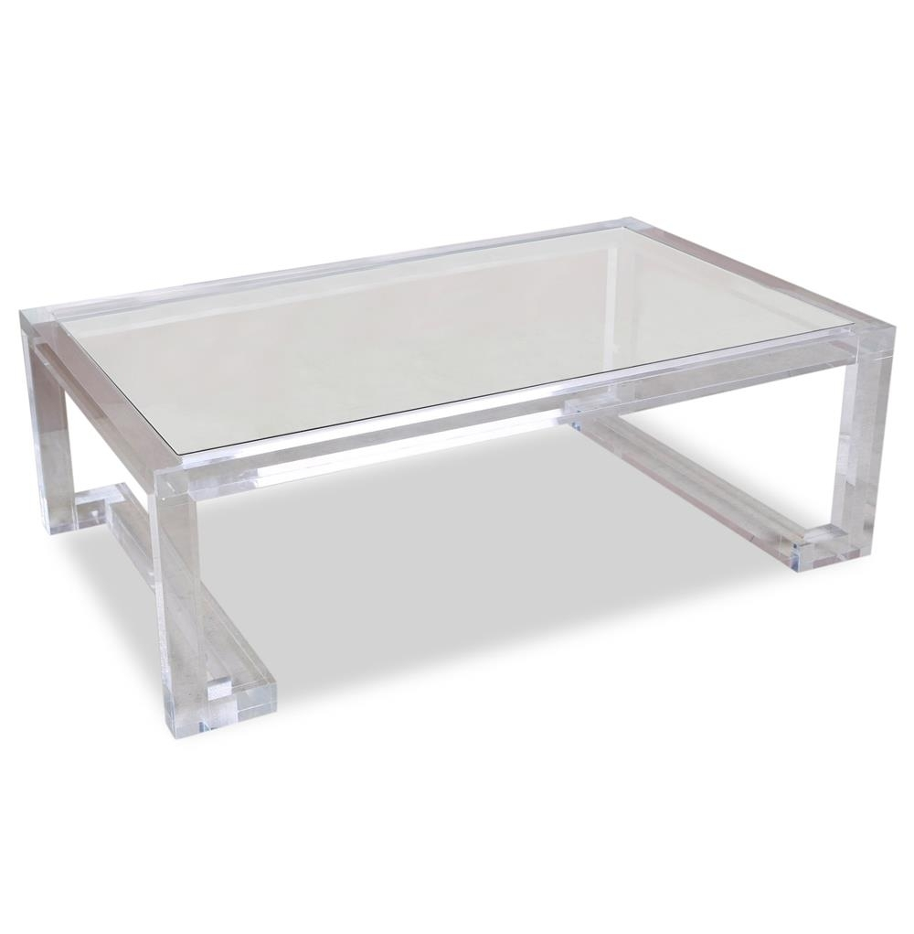 Interlude Ava Hollywood Regency Modern Glass Acrylic Coffee Table in Modern Acrylic Coffee Tables (Image 16 of 30)
