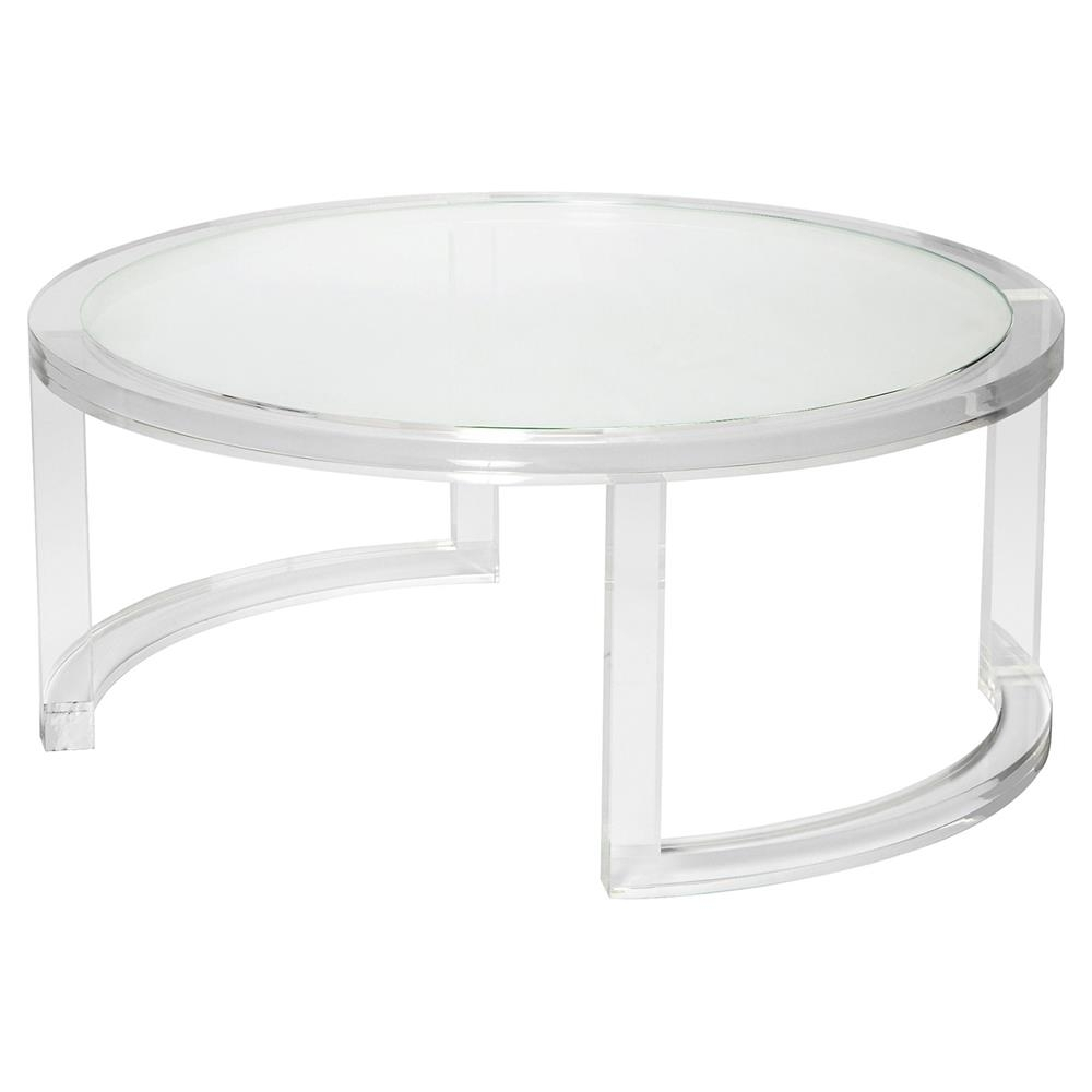 Interlude Ava Modern Round Clear Glass Acrylic Coffee Table with regard to Modern Acrylic Coffee Tables (Image 17 of 30)