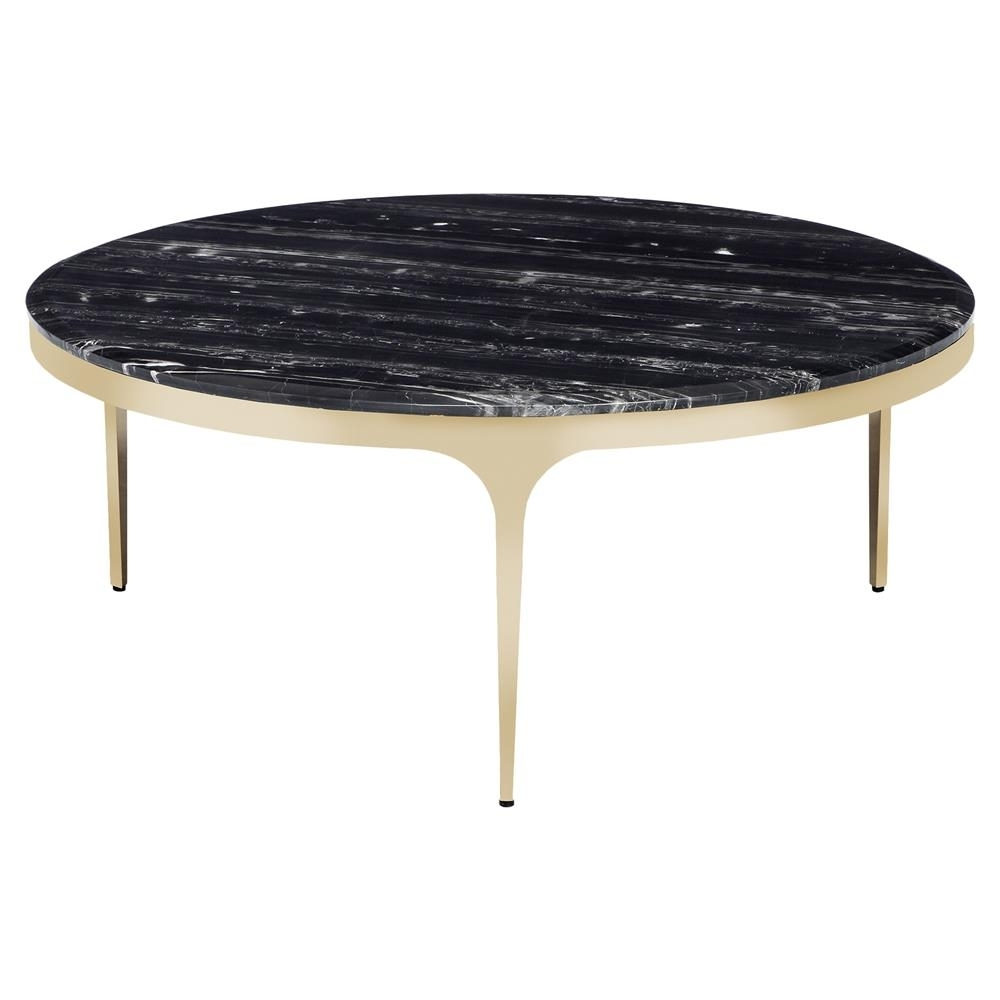 Interlude Camilla Modern Black Marble Round Gold Coffee Table In Smart Large Round Marble Top Coffee Tables (View 14 of 30)