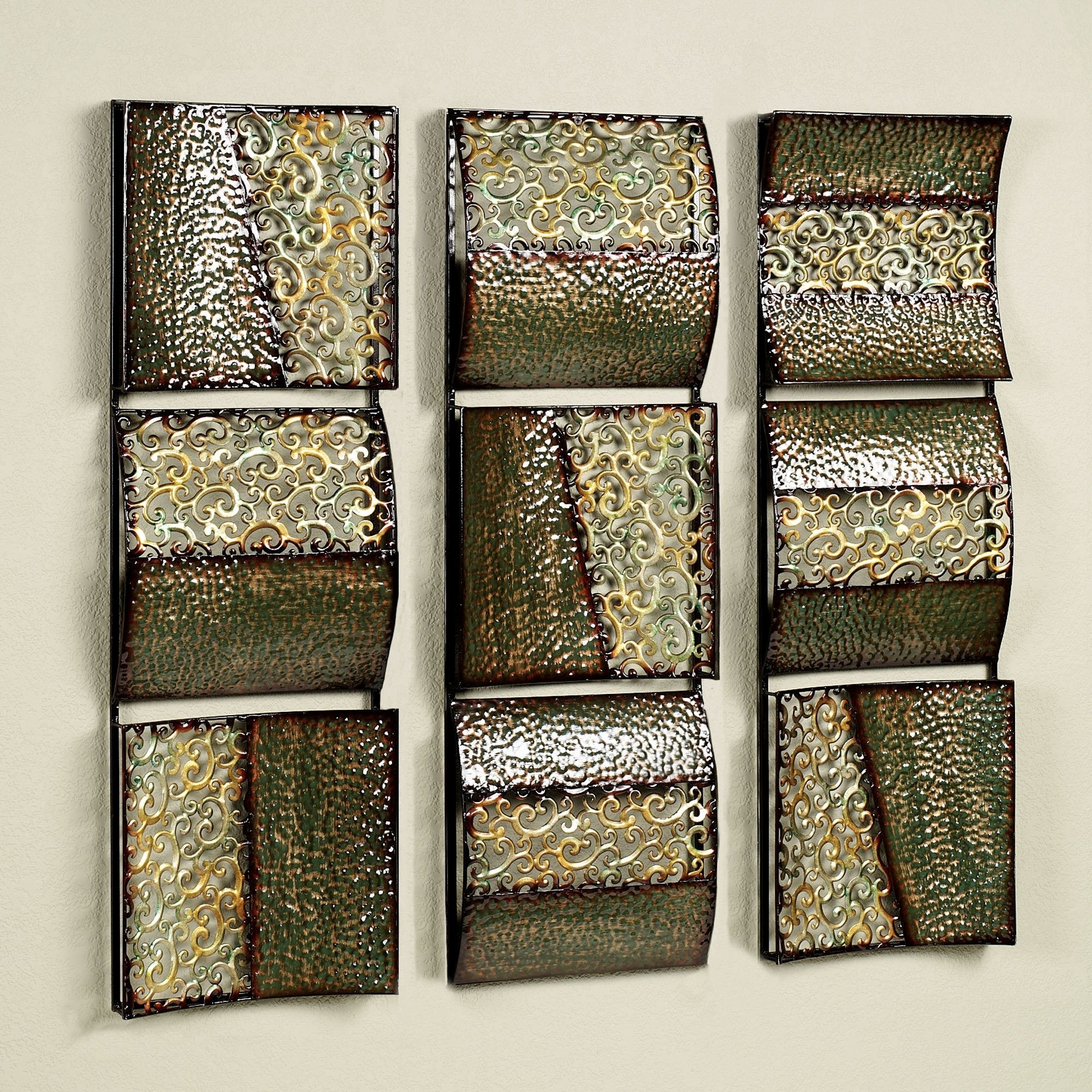 Intermission In Green Metal Wall Art Panel Set for Metal Wall Art Panels (Image 11 of 20)