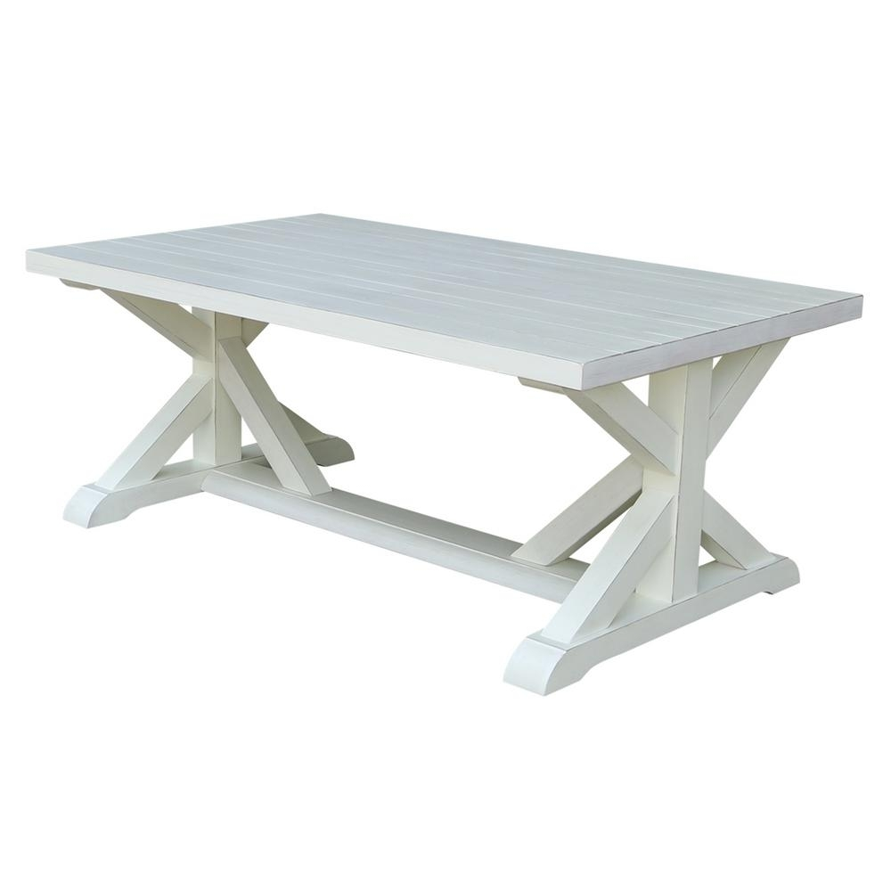 International Concepts Distressed Ivory Plank Top Coffee Table-Ot14 throughout Element Ivory Rectangular Coffee Tables (Image 12 of 30)
