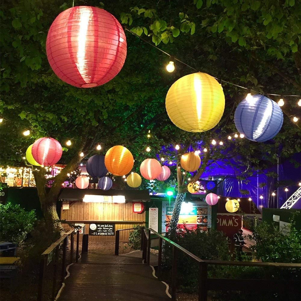 Irealist Multi-Color Hanging Solar Lantern Lights, Nylon Ball throughout Outdoor Nylon Lanterns (Image 7 of 20)