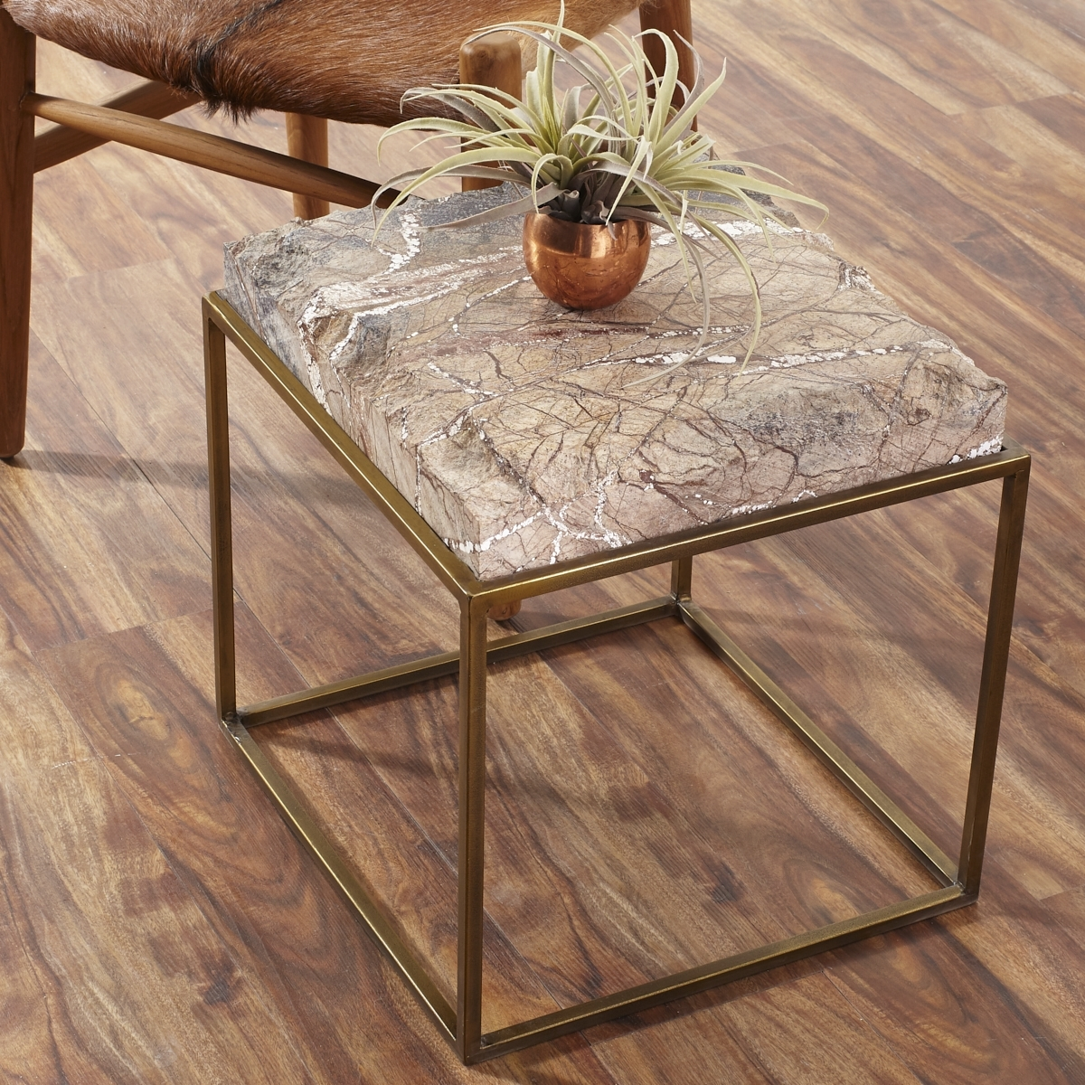 Iron Table With Chiseled Marble Stone Top | Wisteria in Jackson Marble Side Tables (Image 11 of 30)