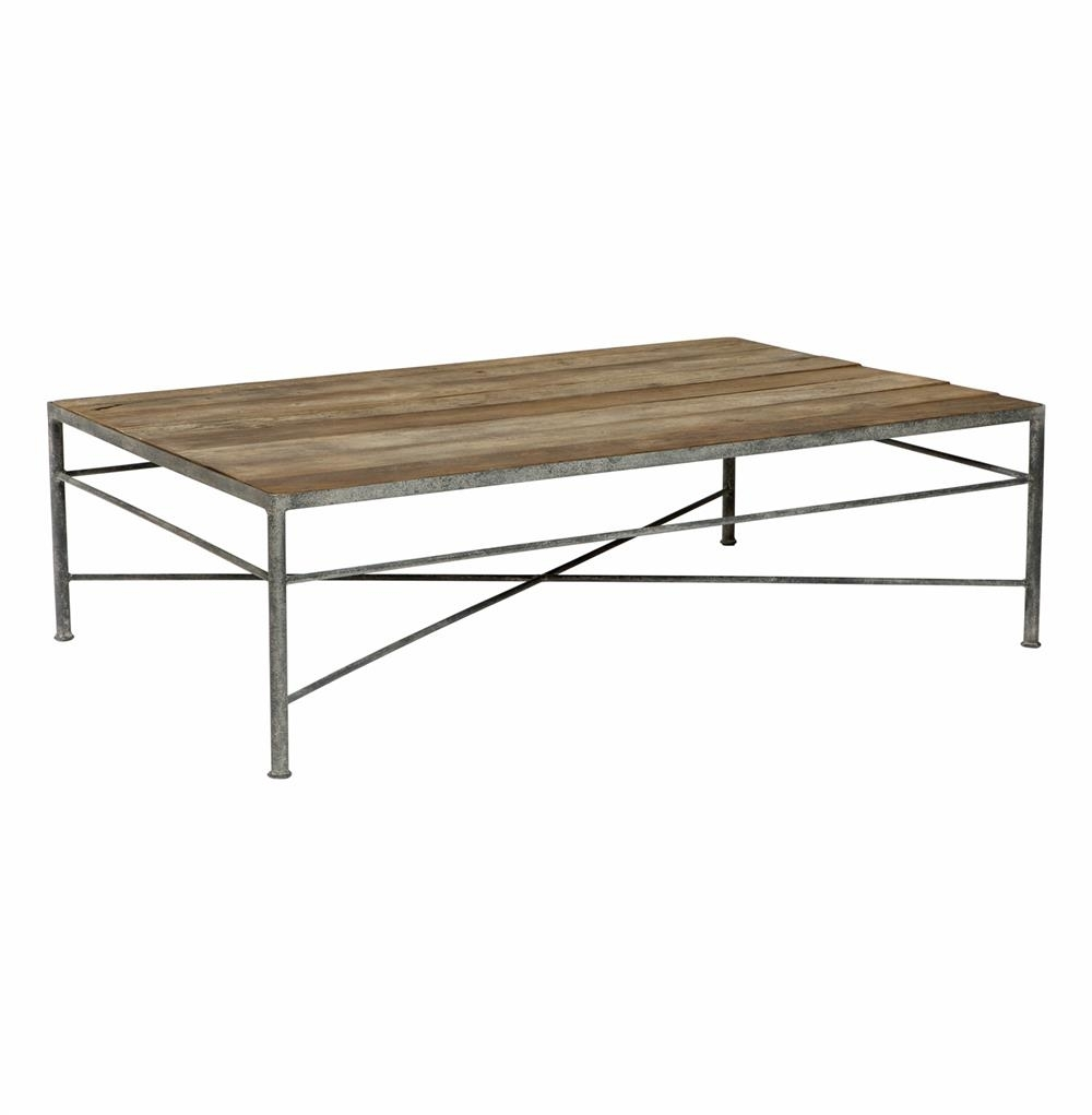 Isabelle Reclaimed Wood Metal Modern Rustic Coffee Table | Kathy Kuo throughout Modern Rustic Coffee Tables (Image 9 of 30)