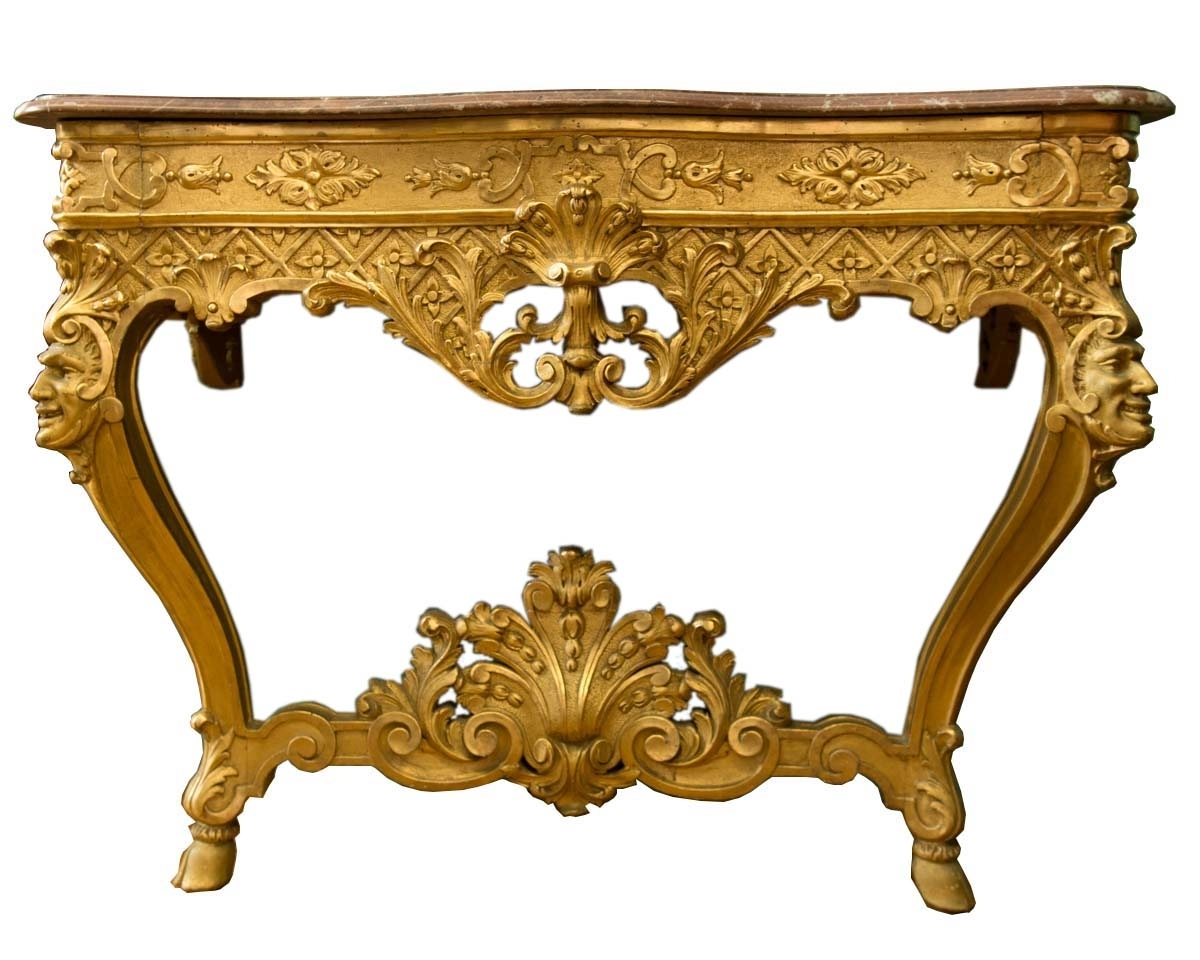 Italian Carved Giltwood Louis X V Style Console Table | Modernism intended for Antiqued Art Deco Coffee Tables (Image 28 of 30)