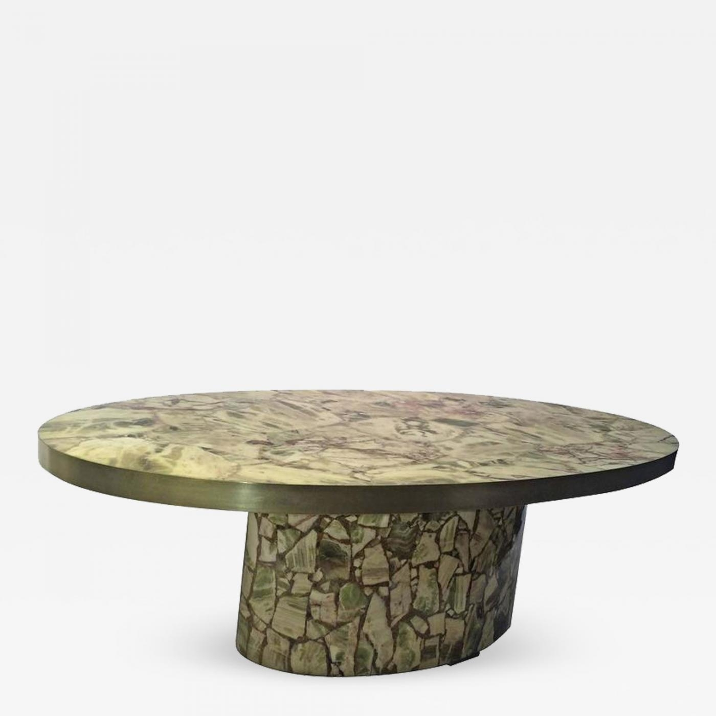 Italian Fractured Green Onyx Resin Oval Coffee Table for Joni Brass And Wood Coffee Tables (Image 16 of 30)
