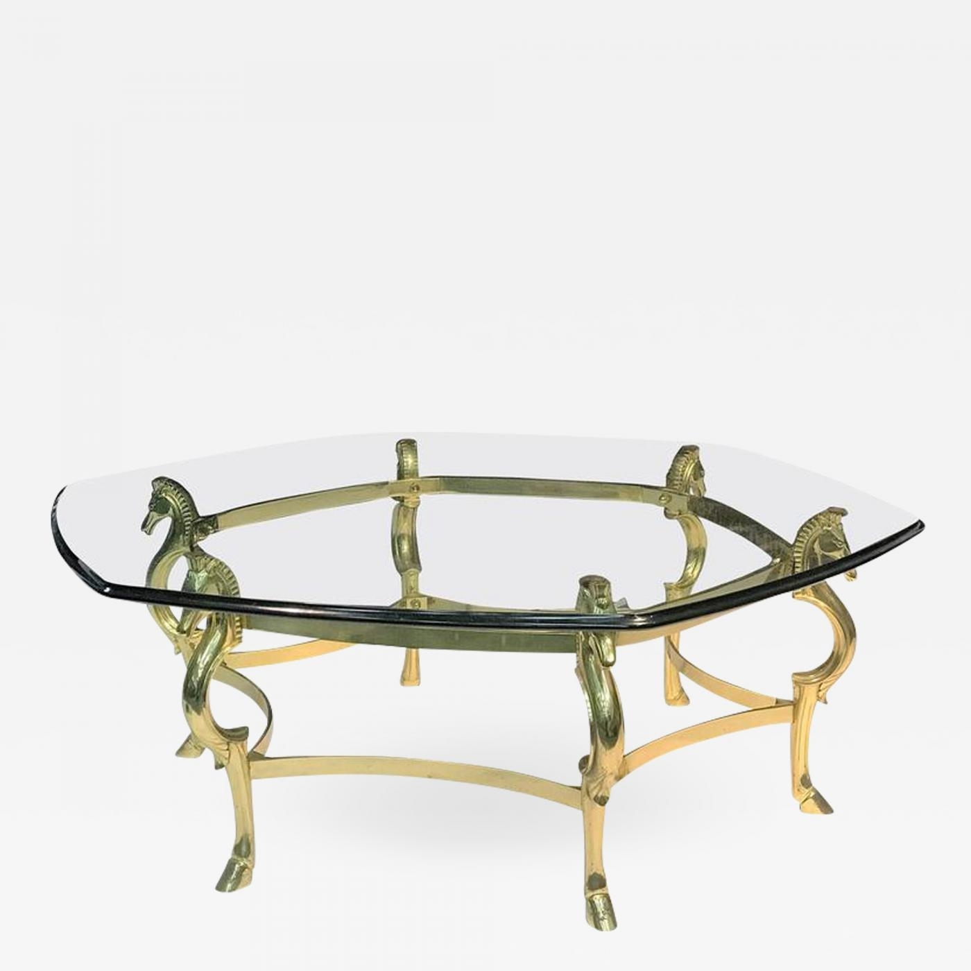 Italian Modernist Brass Seahorse Coffee Table throughout Joni Brass and Wood Coffee Tables (Image 17 of 30)