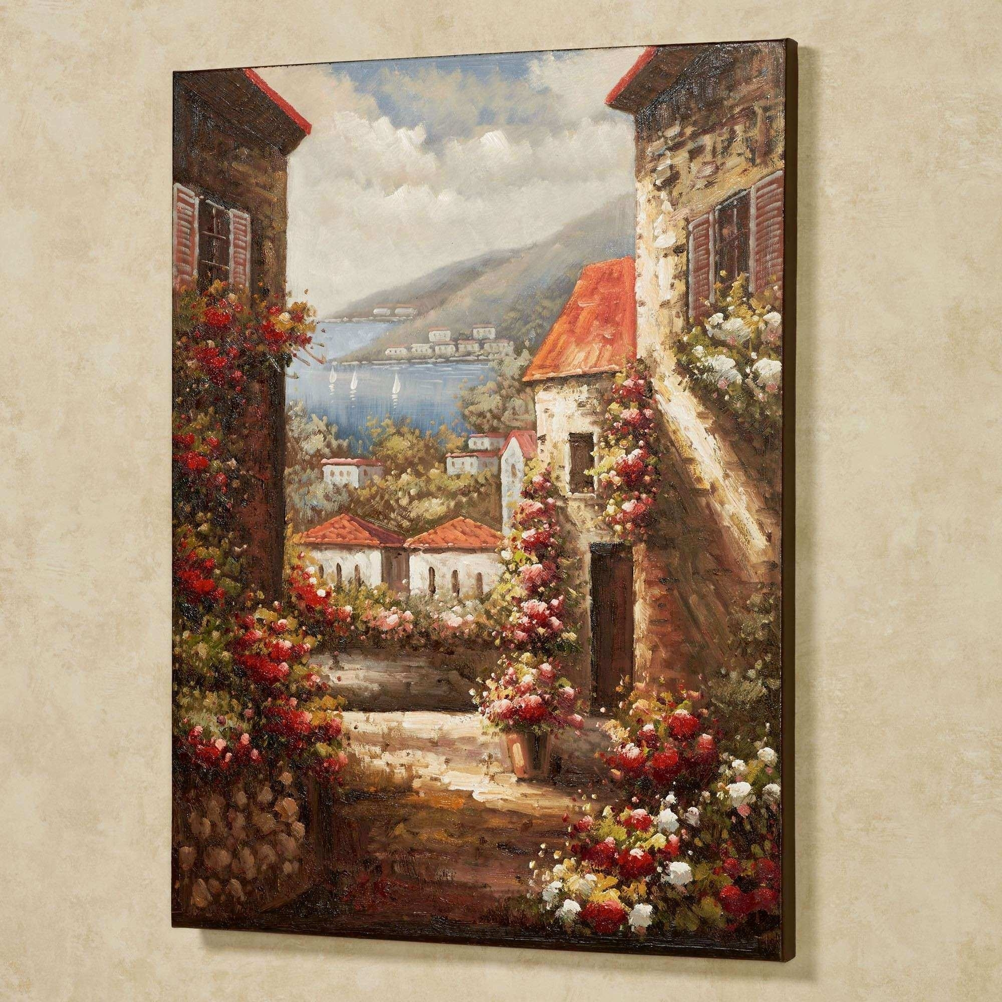 Italian Wall Decor Elegant Tuscan Seaside View Canvas Wall Art Intended For Tuscan Wall Art (View 5 of 20)