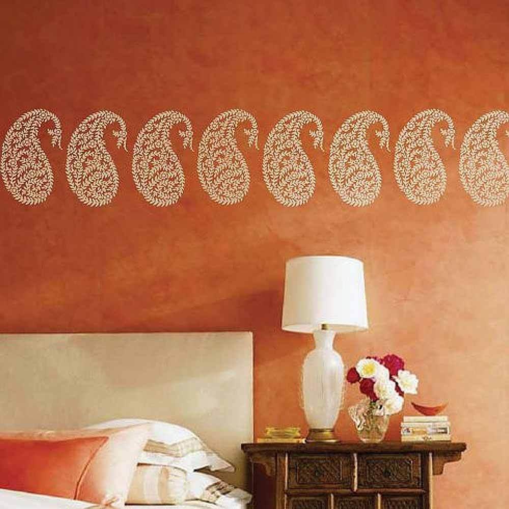 Jaipur Paisley Wall Art Stencil – Small – Reusable Ethnic Stencil Inside Stencil Wall Art (View 14 of 20)