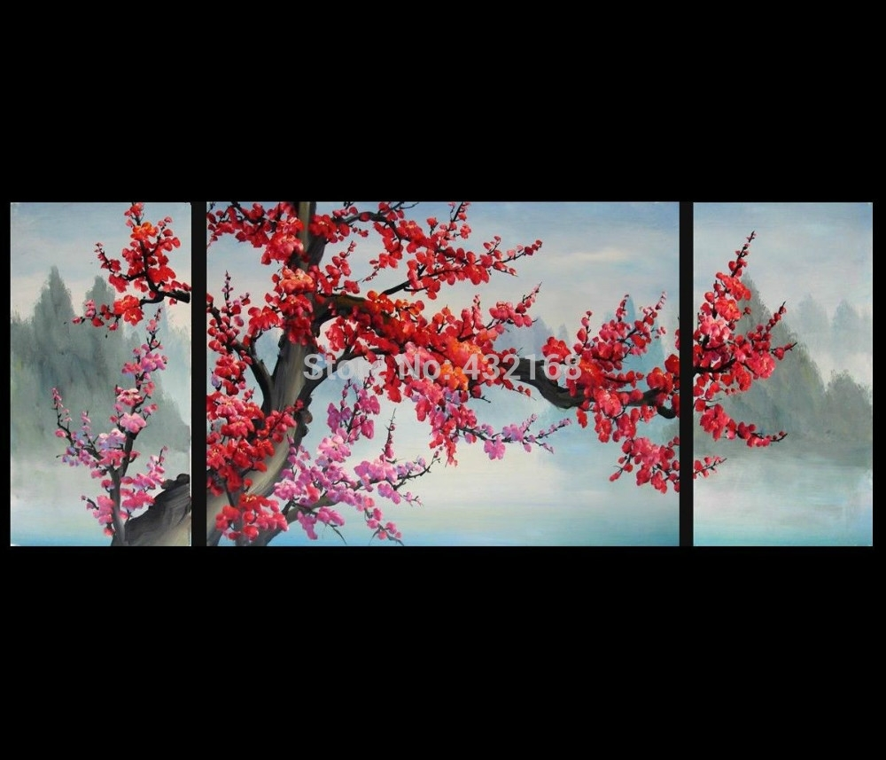 Japanese Cherry Blossom Abstract Art Paintings Modern Wall Art Decor with regard to Japanese Wall Art (Image 8 of 20)