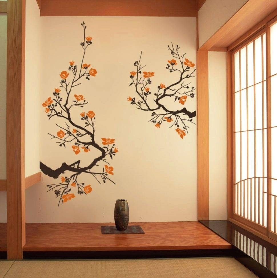 Japanese Fan Wall Decor - Interactifideas throughout Japanese Wall Art (Image 9 of 20)