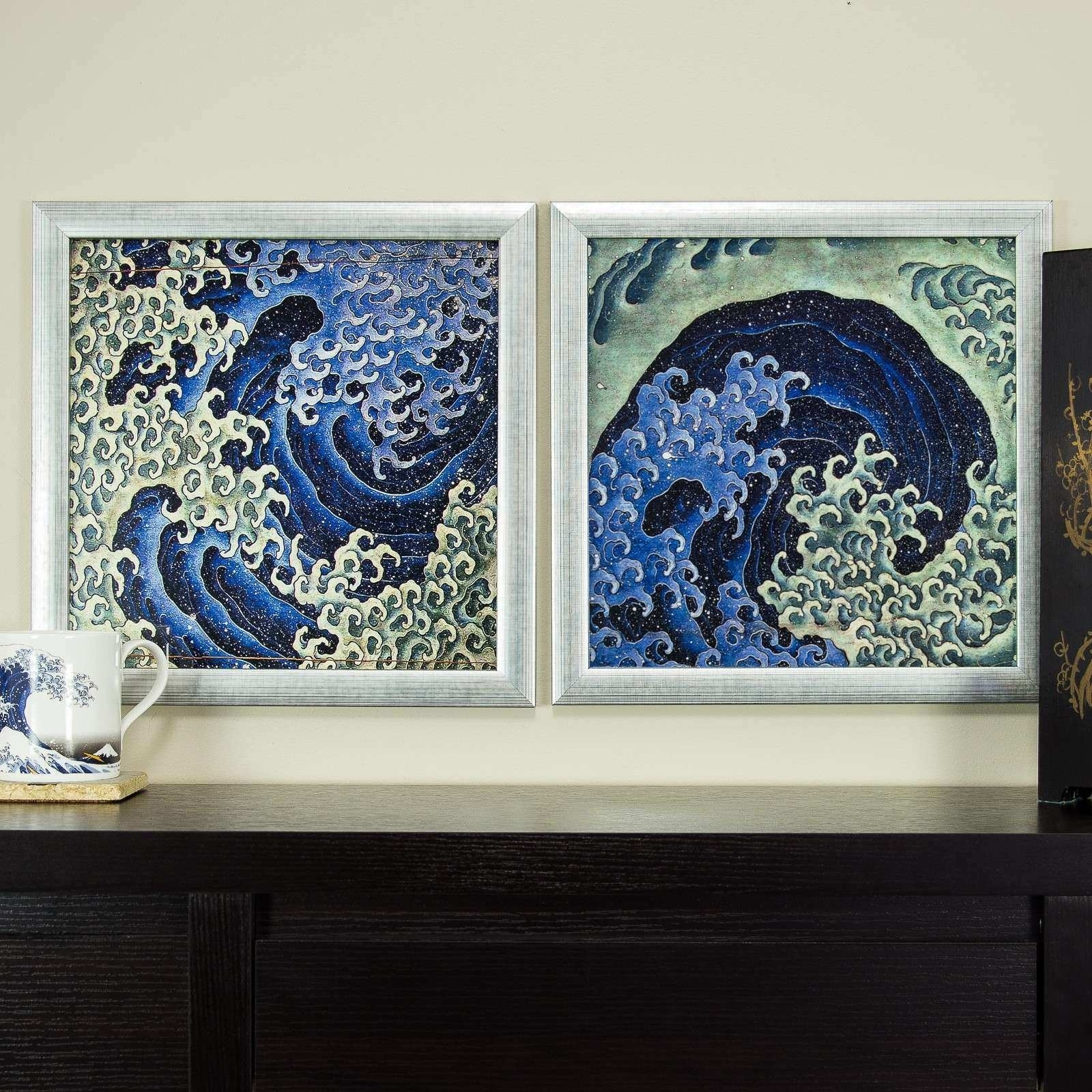 Japanese Wall Decor Elegant Masculine Feminine Wave 12X12 Framed with regard to Asian Wall Art (Image 17 of 20)