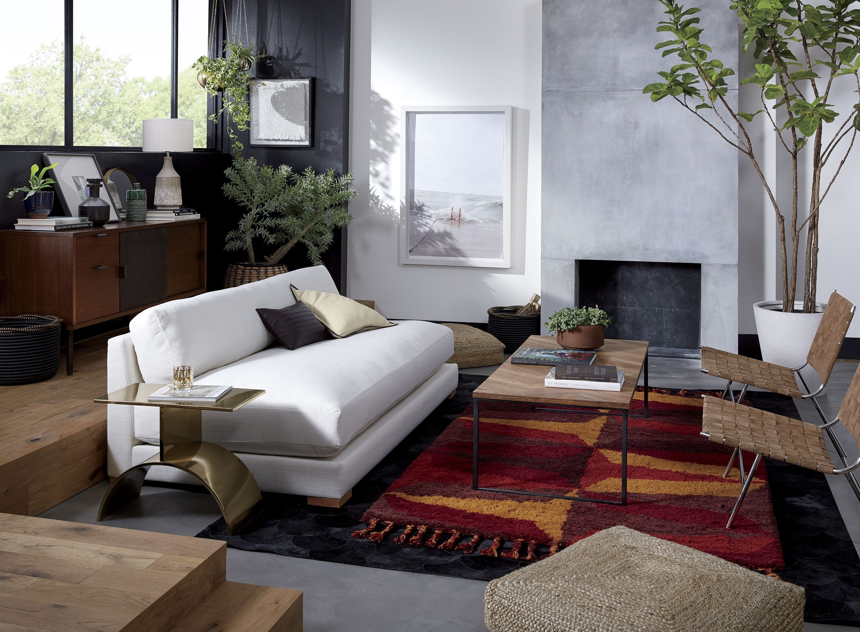 Jax Mirror Tri White Marble Side Table Spotted Hide Pouf Savile Sofa inside Darbuka Black Coffee Tables (Image 17 of 30)