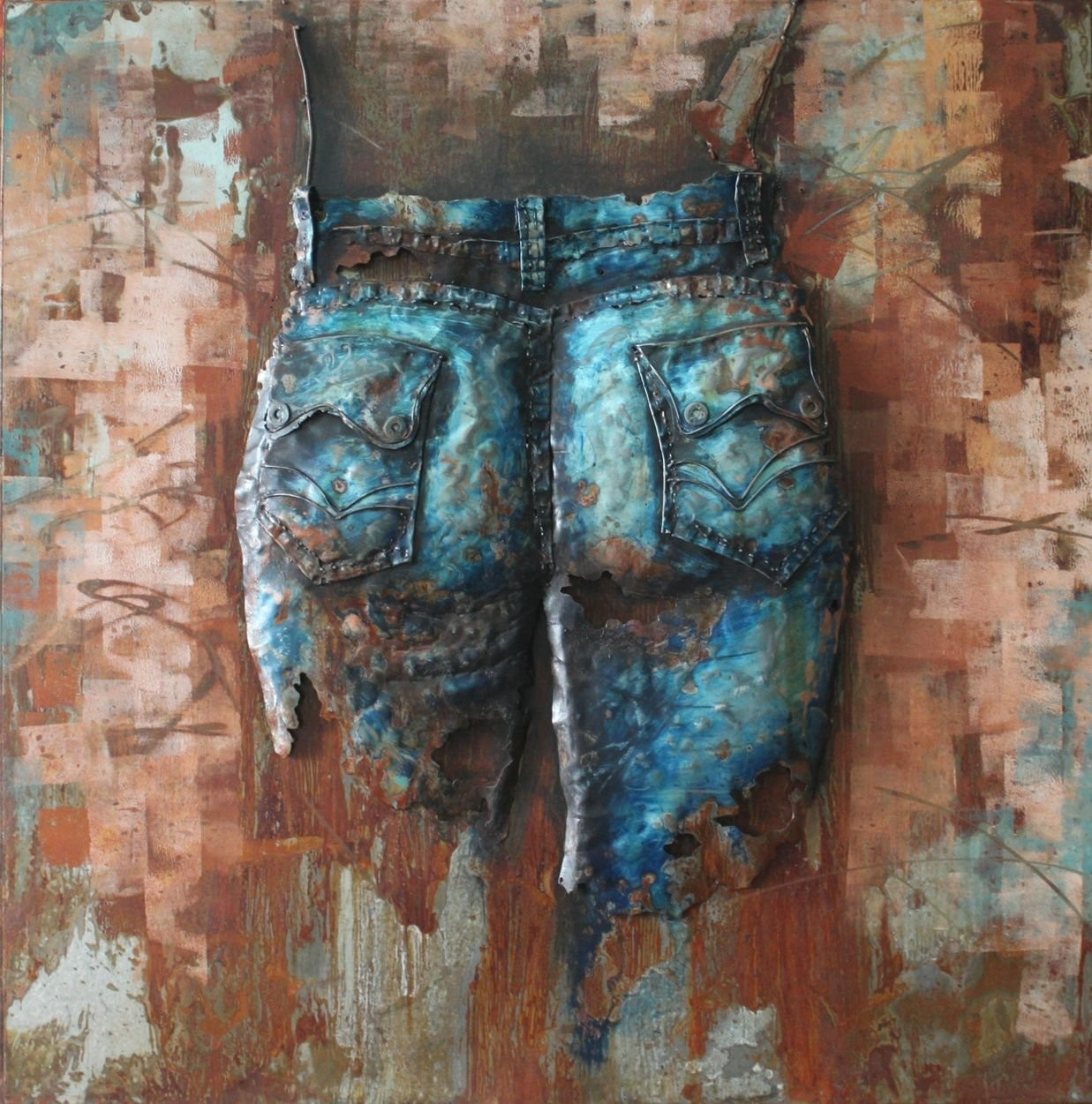 Jeans Cowgirl(Back) - 3D Metal Wall Art pertaining to 3D Metal Wall Art (Image 13 of 20)