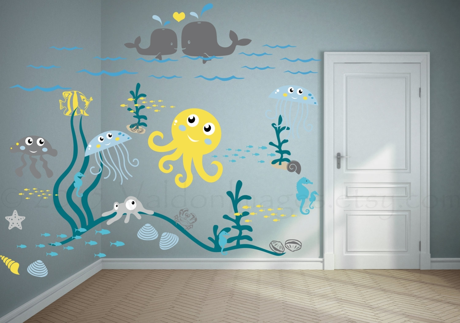 Jellyfish Adventure Nursery Wall Decal Ocean Valdonimages Gallery pertaining to Sea Life Wall Art (Image 9 of 20)