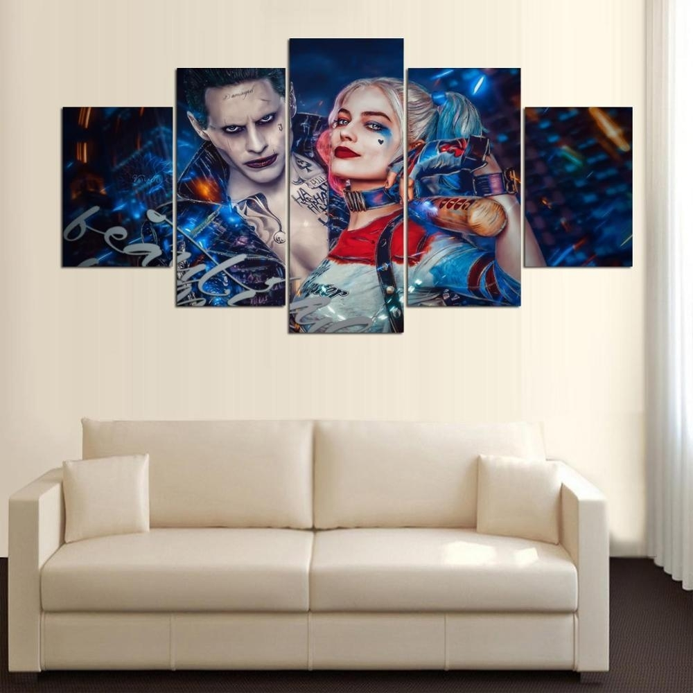 Joker Harley Quinn Suicide Squad Art Print Picture Canvas 5 Piece Within 5 Piece Wall Art Canvas (View 18 of 20)