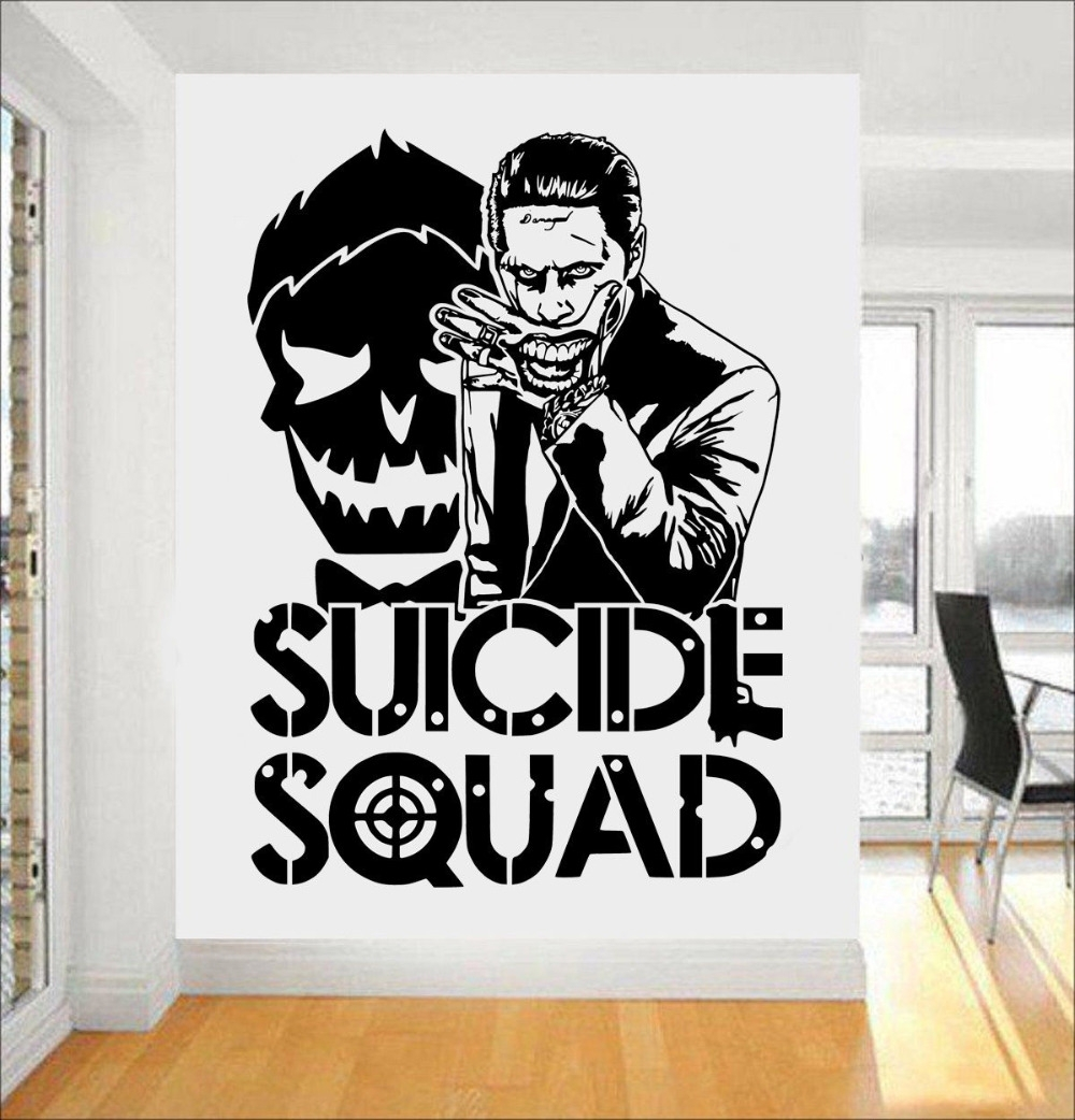 Joker Suicide Squad Wall Art Sticker Fashion Design Wall Stickers Throughout Joker Wall Art (Image 14 of 20)